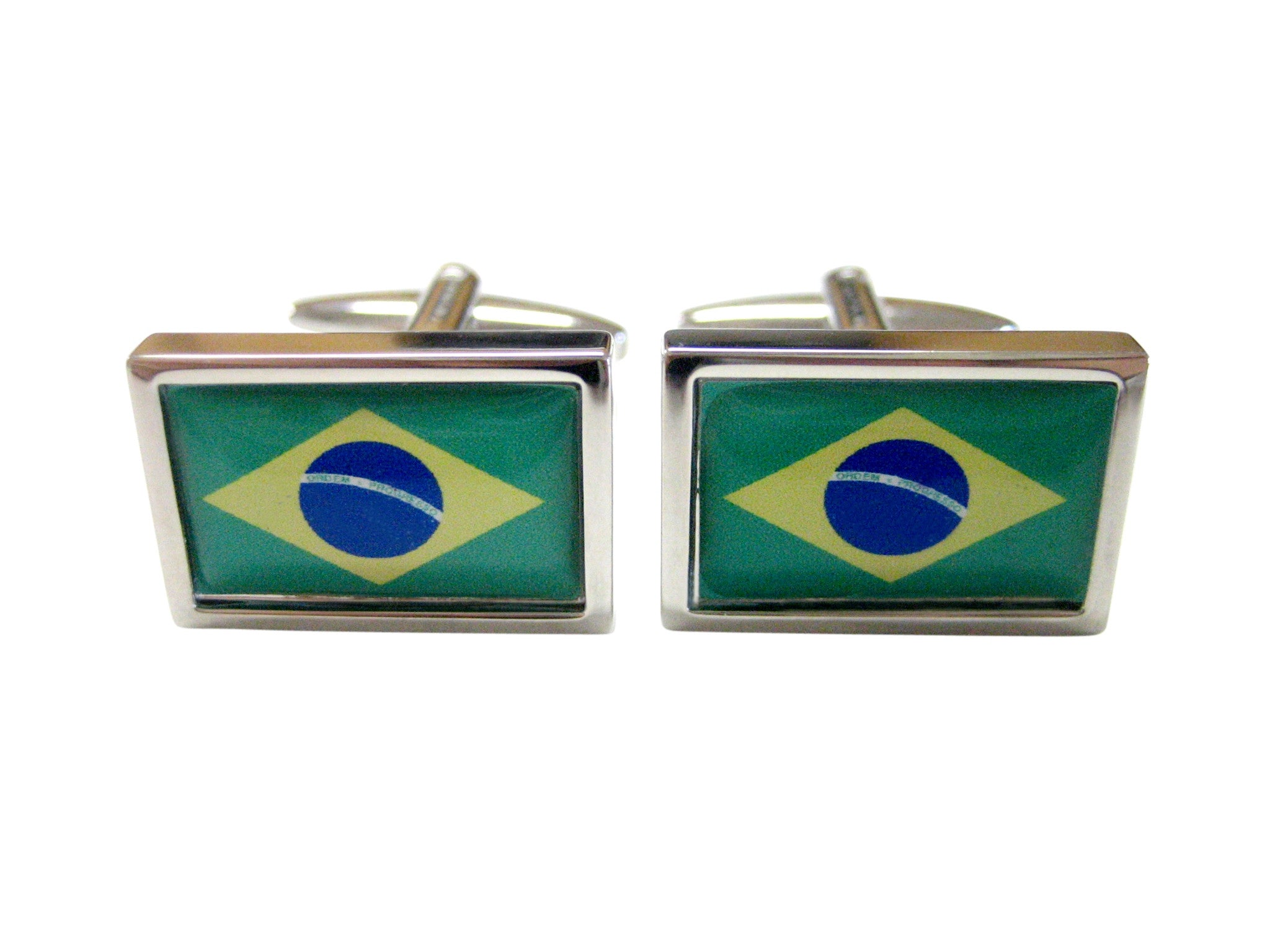 Bordered Brazil Flag Cufflinks
