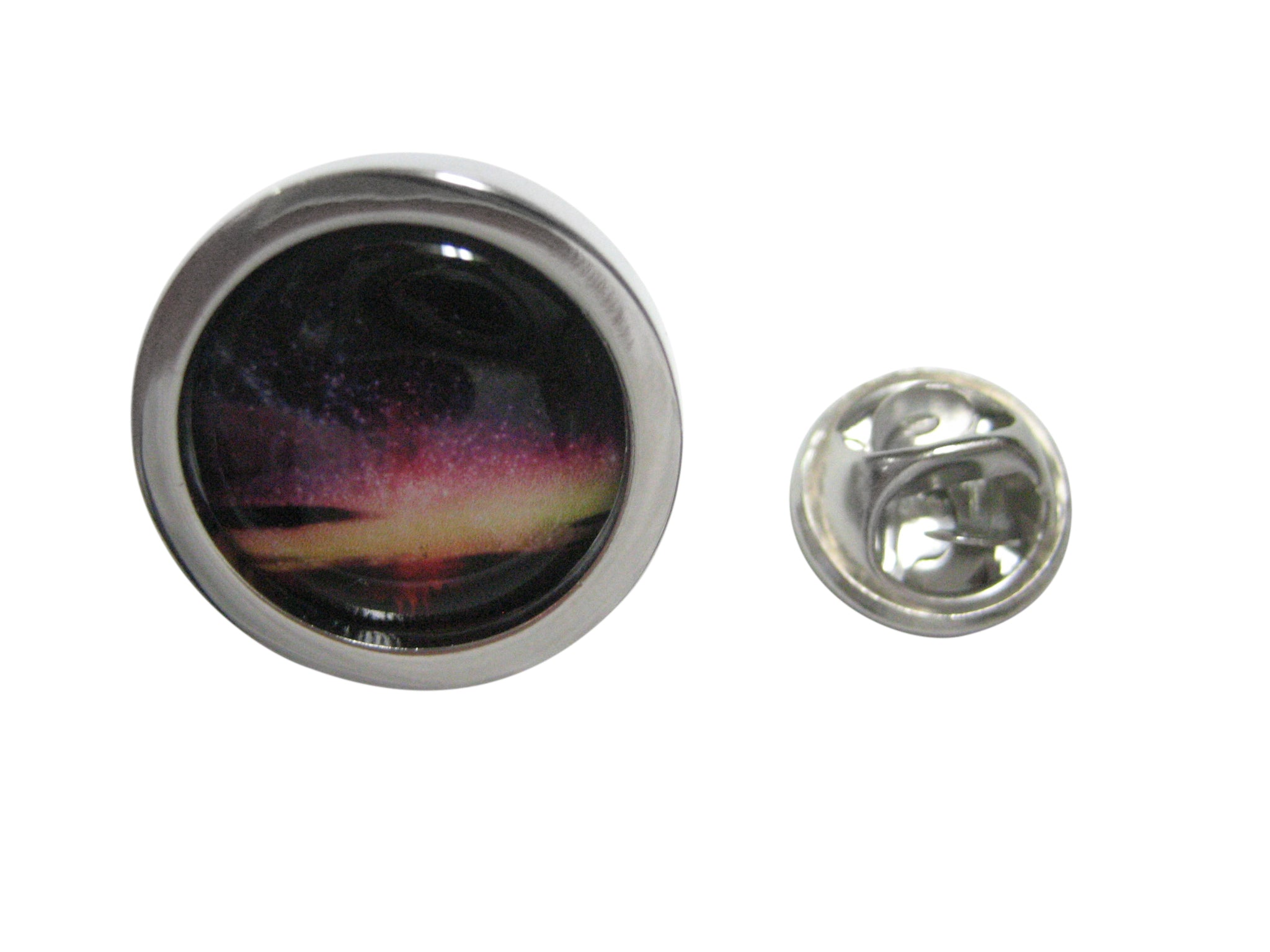 Bordered Colorful Deep Space Gas Nebula Lapel Pin