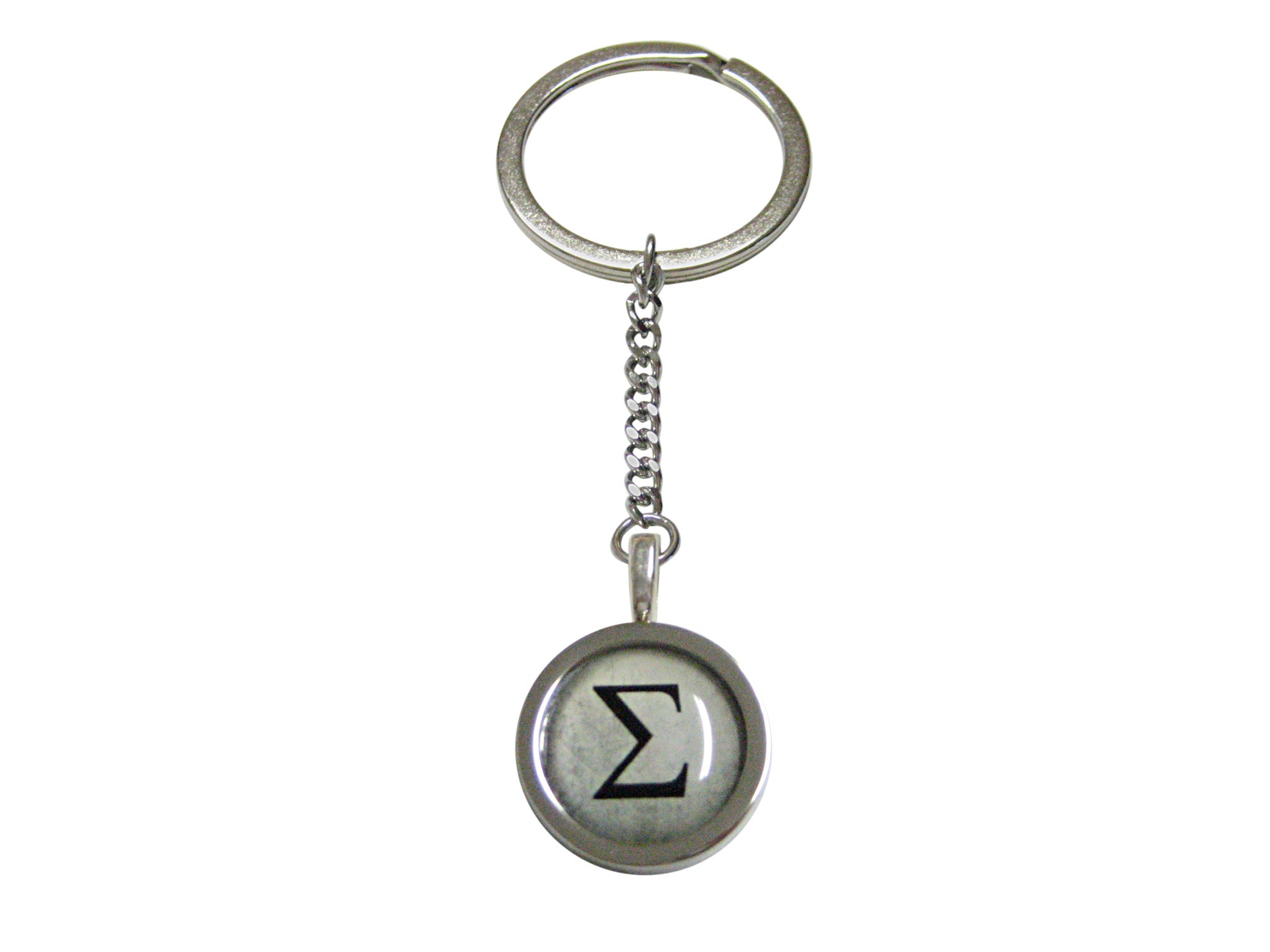 Bordered Mathematical Greek Sigma Symbol Pendant Keychain Kiola