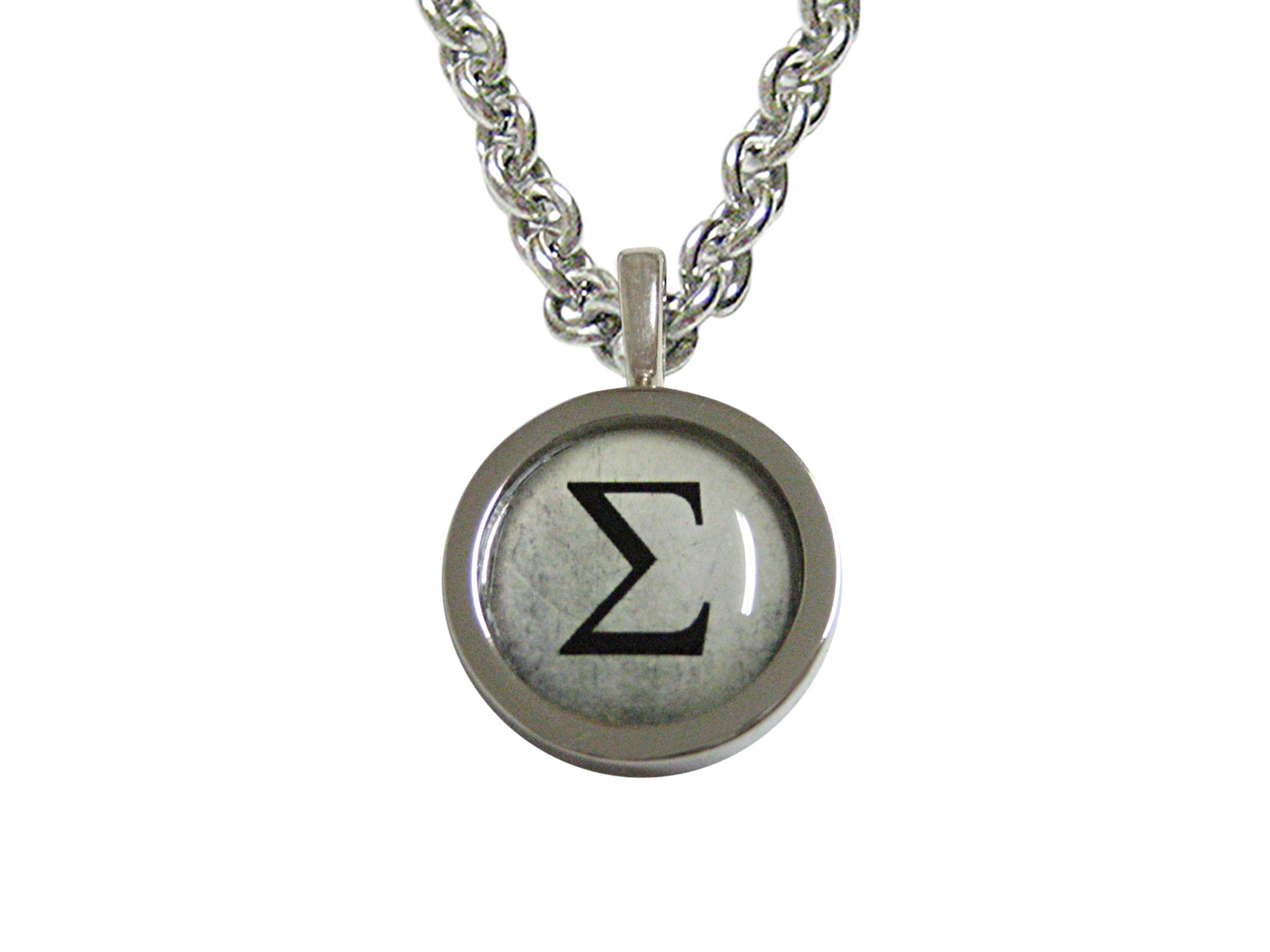 Bordered Mathematical Greek Sigma Symbol Pendant Necklace Kiola