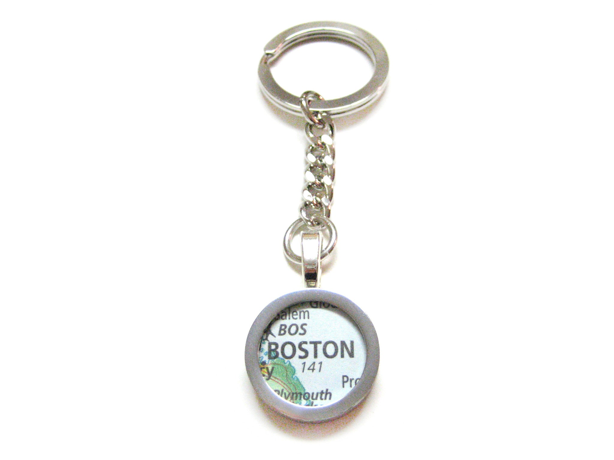Boston Massachusetts Map Pendant Keychain