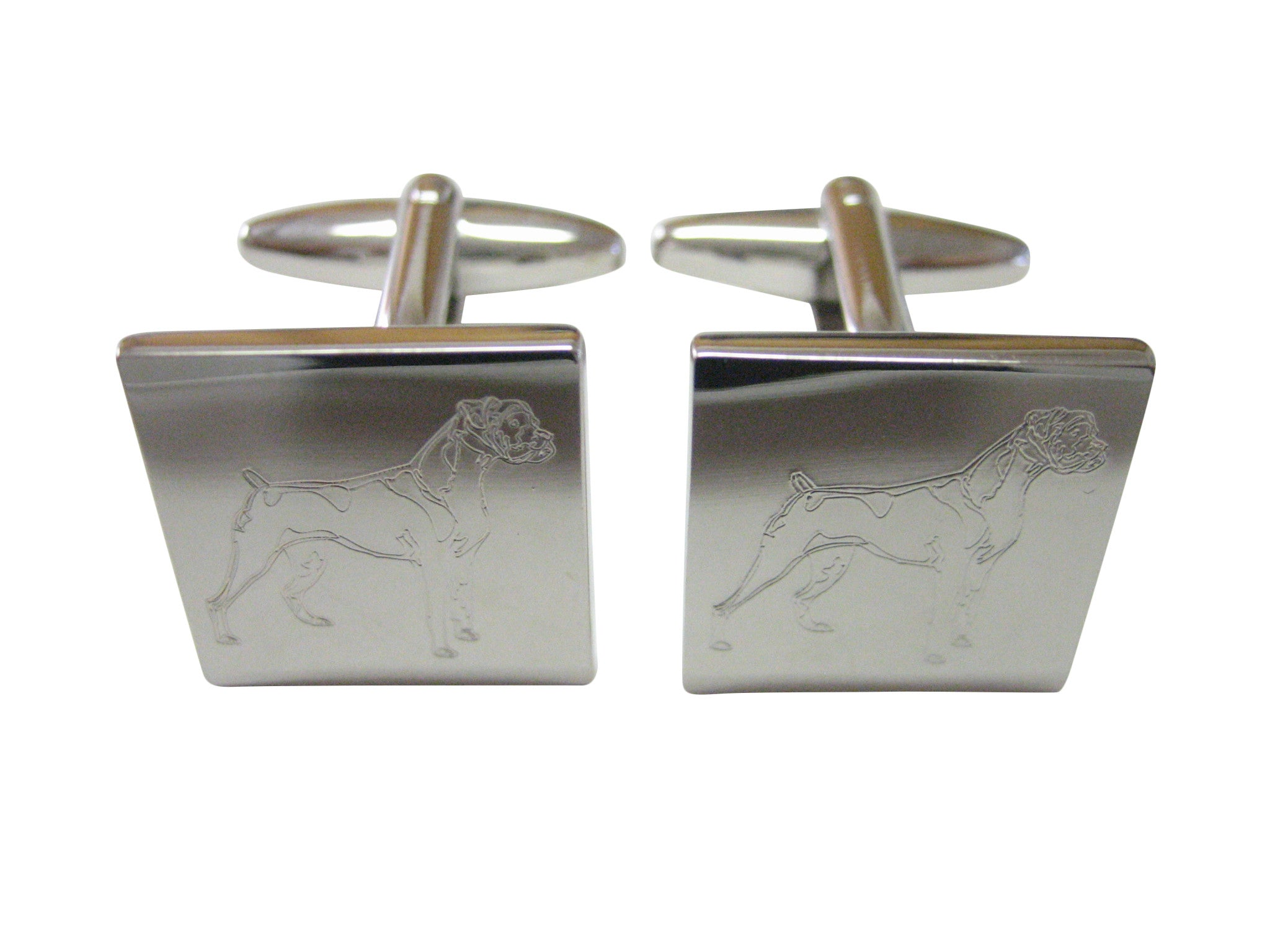 Boxer Dog Laser Etched Cufflinks