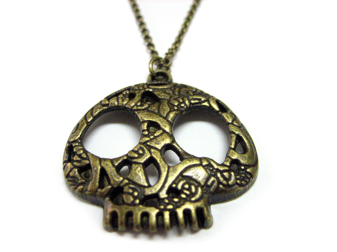 Brass Toned Skull Charm Necklace