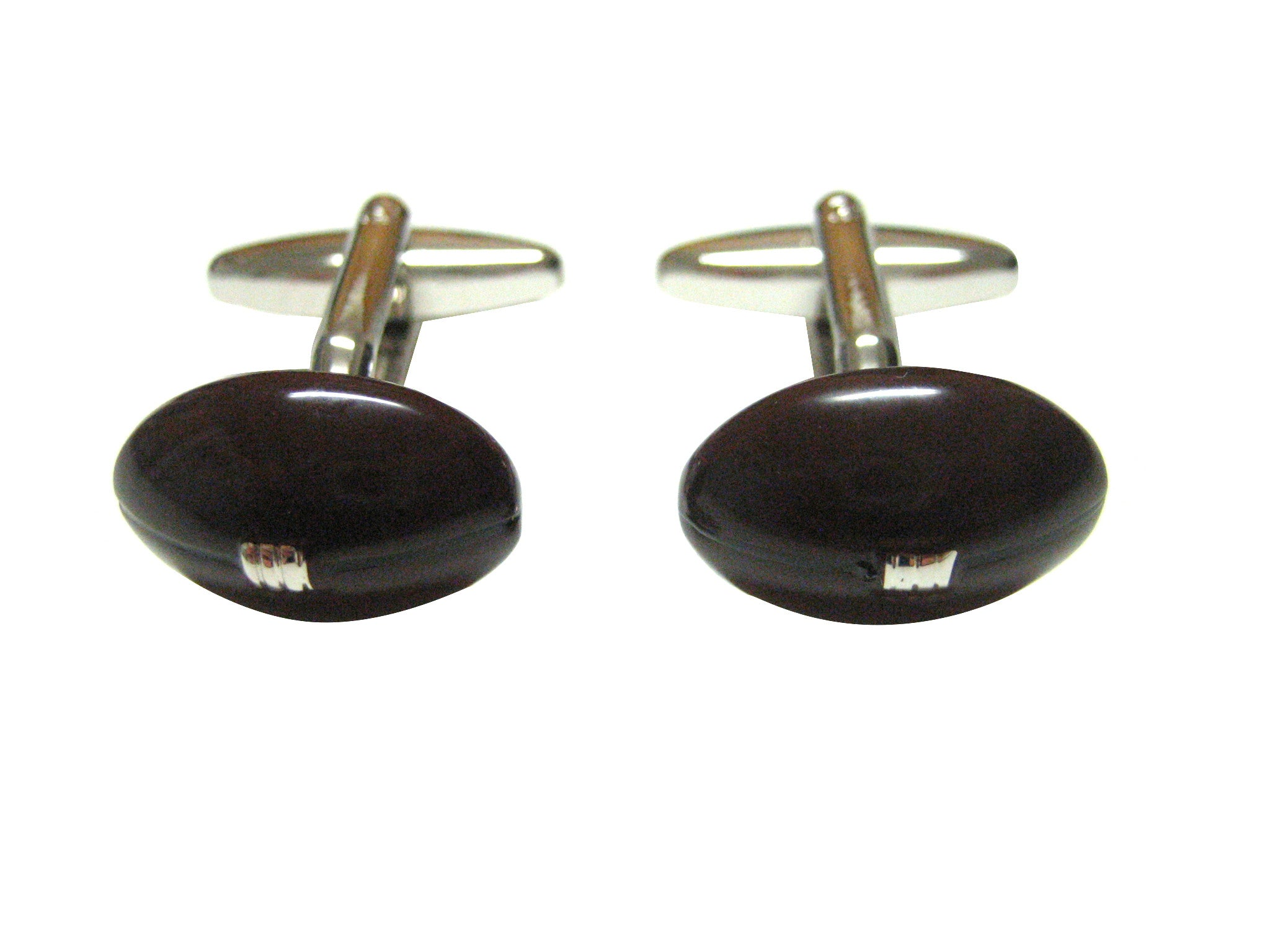 Dark Brown Football Cufflinks
