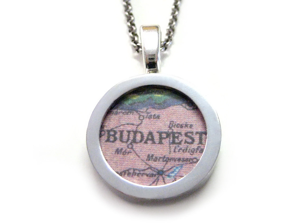 Budapest Map Pendant Necklace