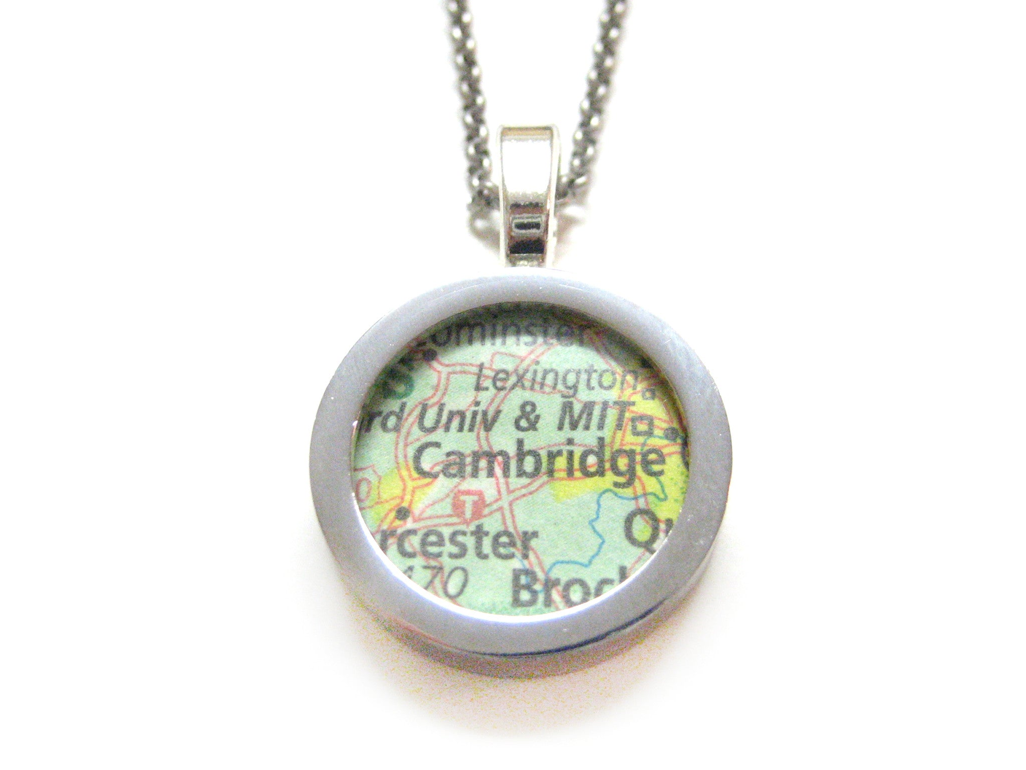 Cambridge Massachusetts and MIT Map Pendant Necklace