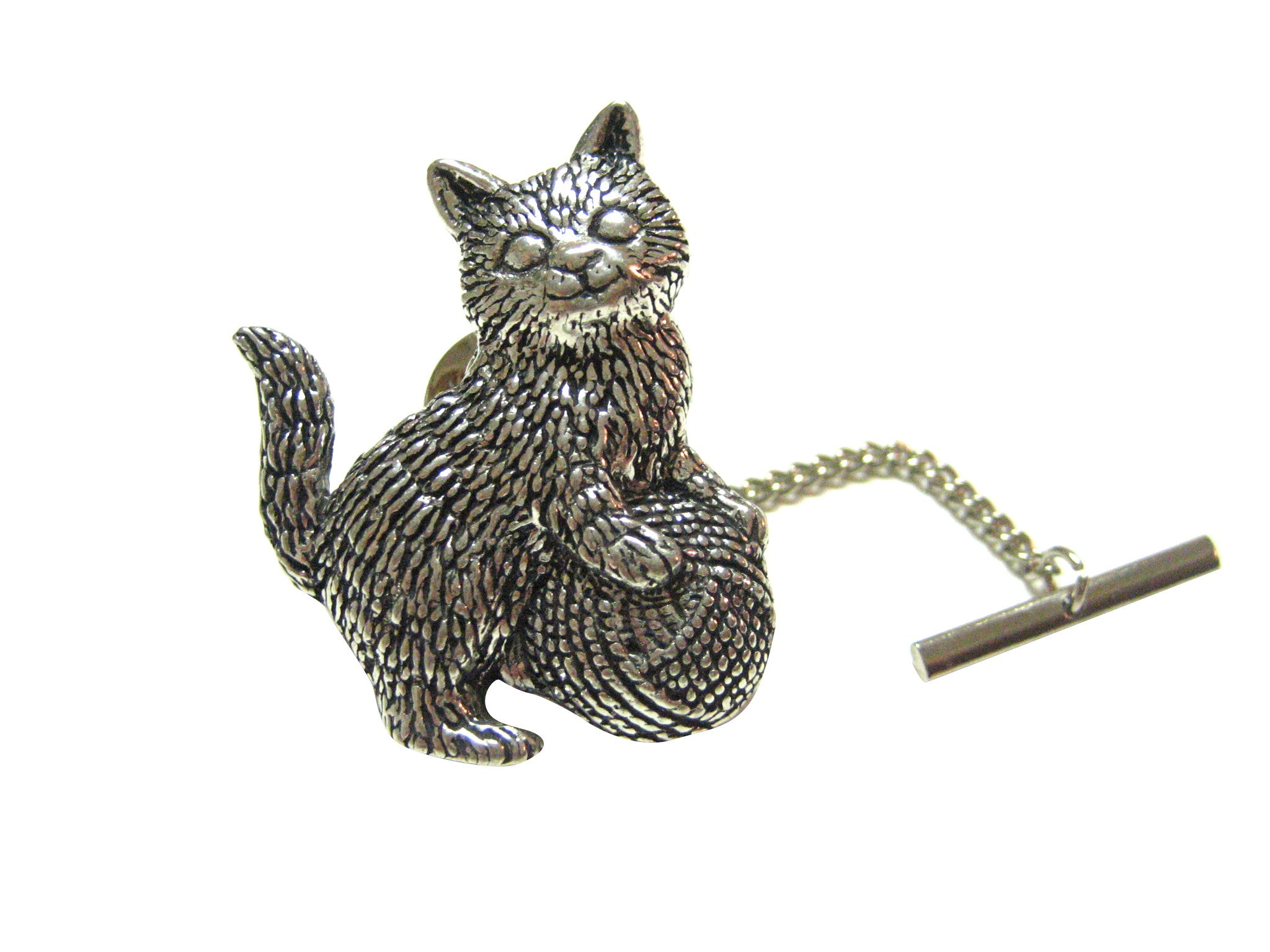Cat Kitten with Yarn Tie Tack