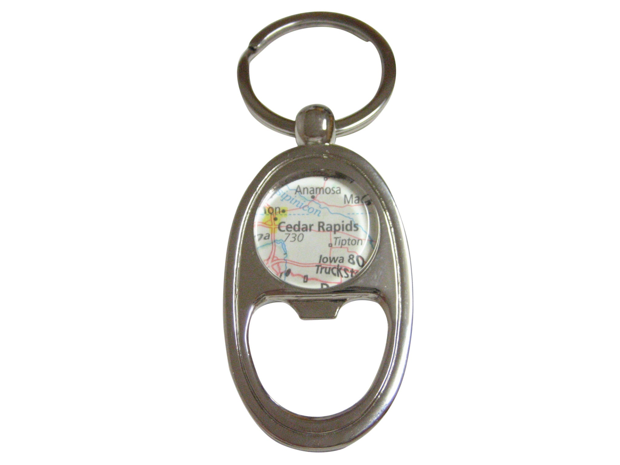 Cedar Rapids Iowa Map Key Chain Bottle Opener