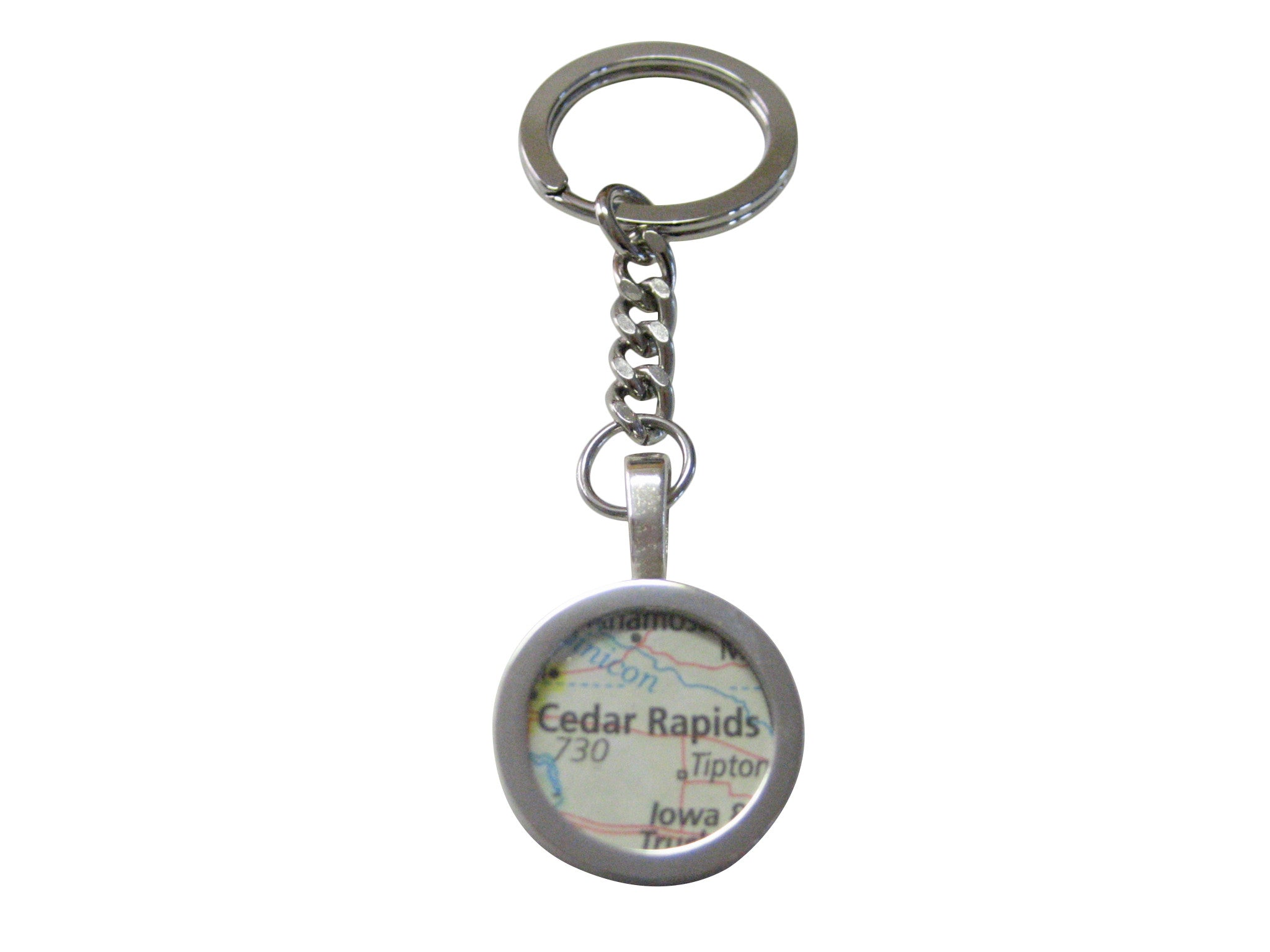 Cedar Rapids Iowa Map Pendant Keychain