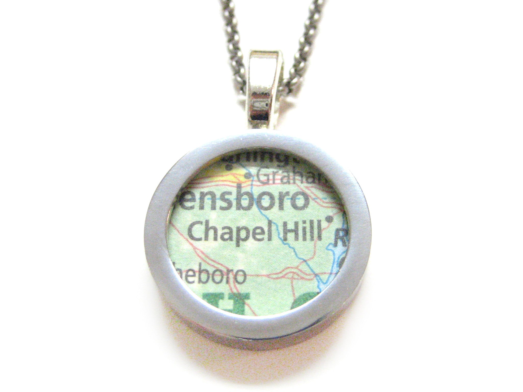 Chapel Hill North Carolina Map Pendant Necklace