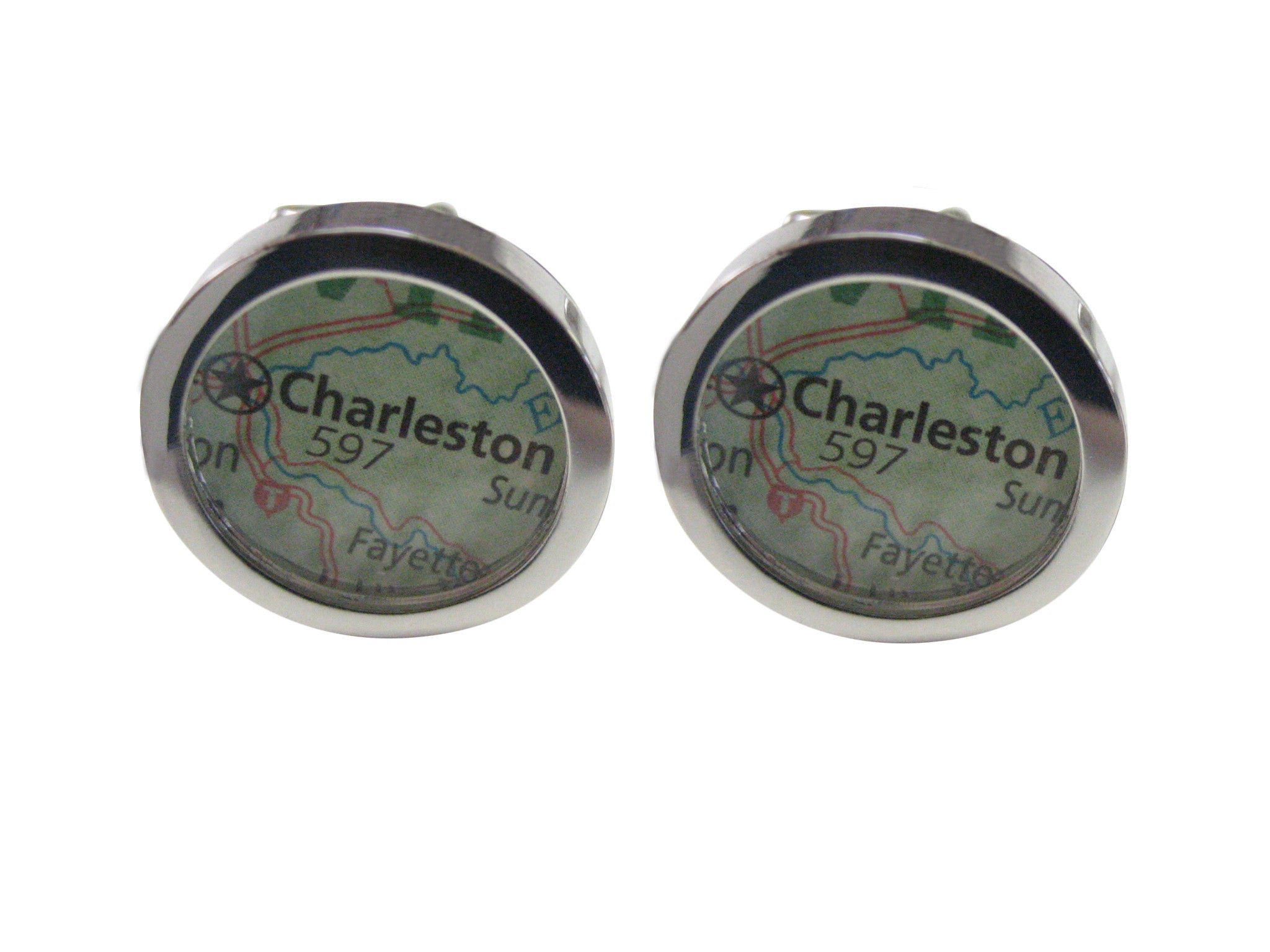 Charleston Map Cufflinks