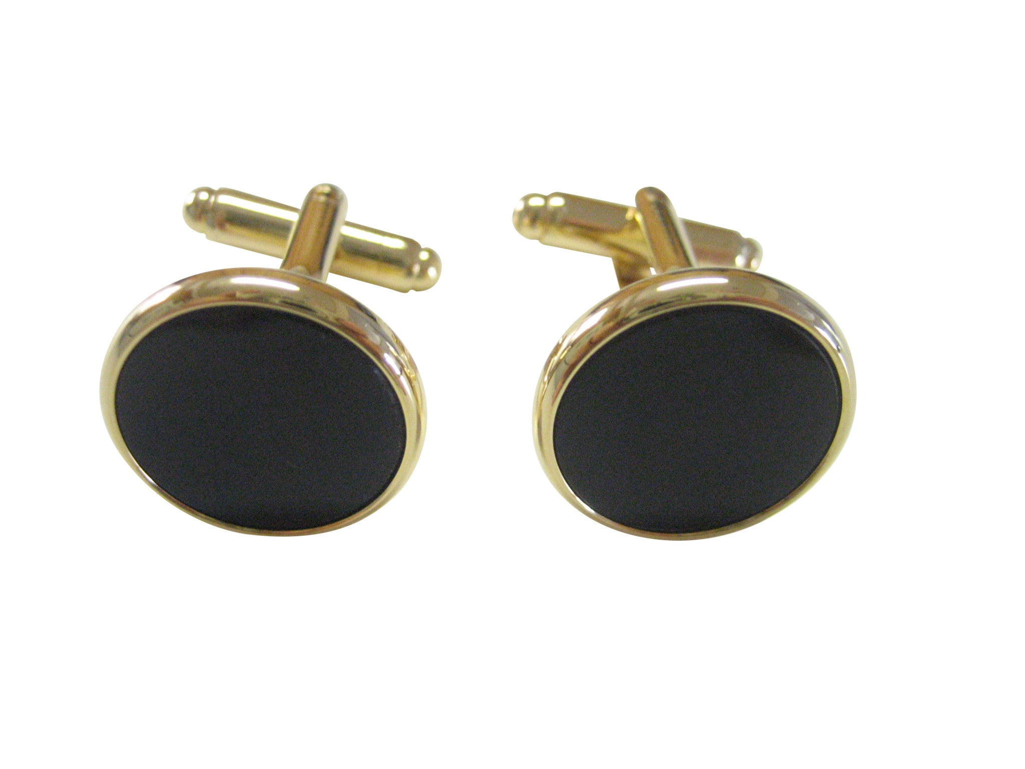 Classic Gold and Black Round Cufflinks