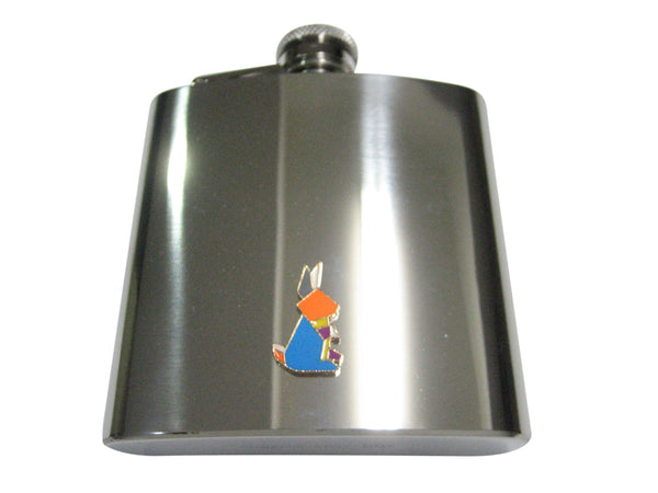 Colorful Origami Rabbit Bunny 6oz Flask