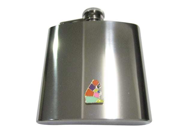 Colorful Origami Sitting Bear 6oz Flask