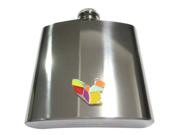Colorful Origami Squirrel 6oz Flask