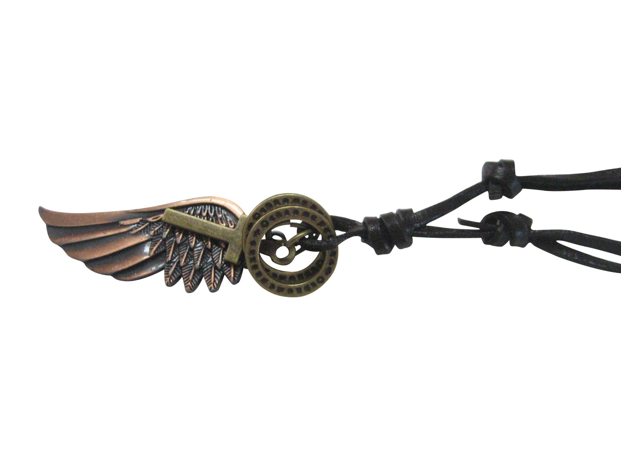 Copper Toned Wing and Cross Necklace