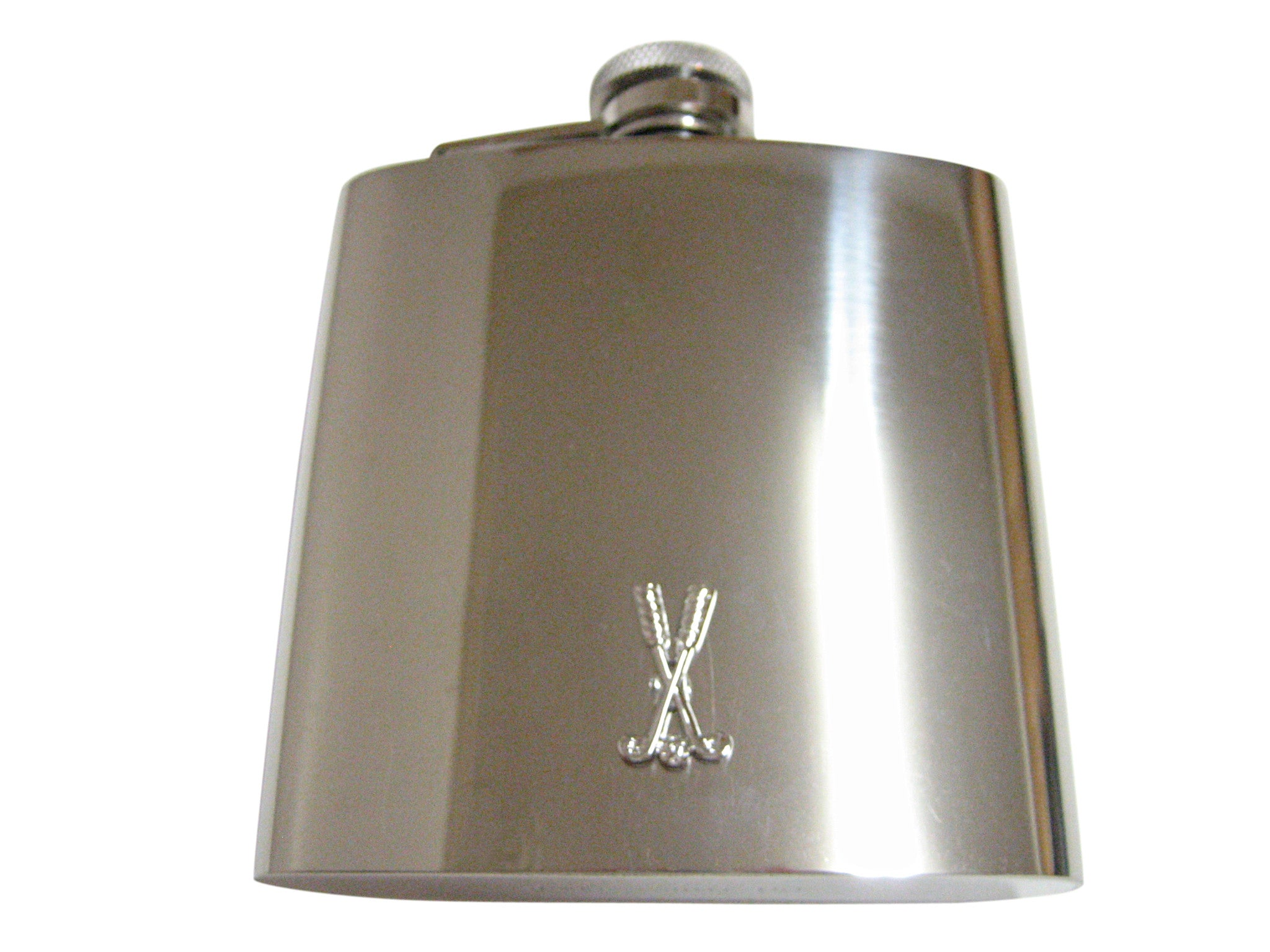 Crossed Golf Clubs 6 Oz. Stainless Steel Flask