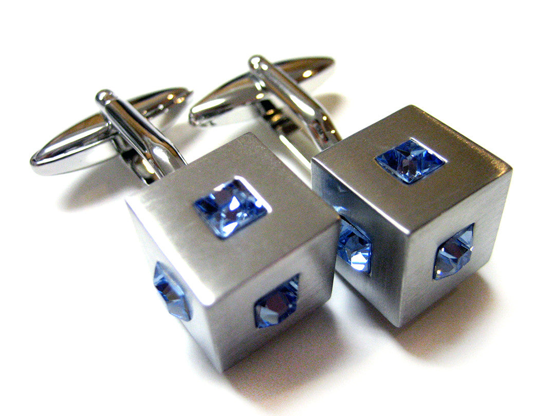 Crystal Studded Cube Cufflinks