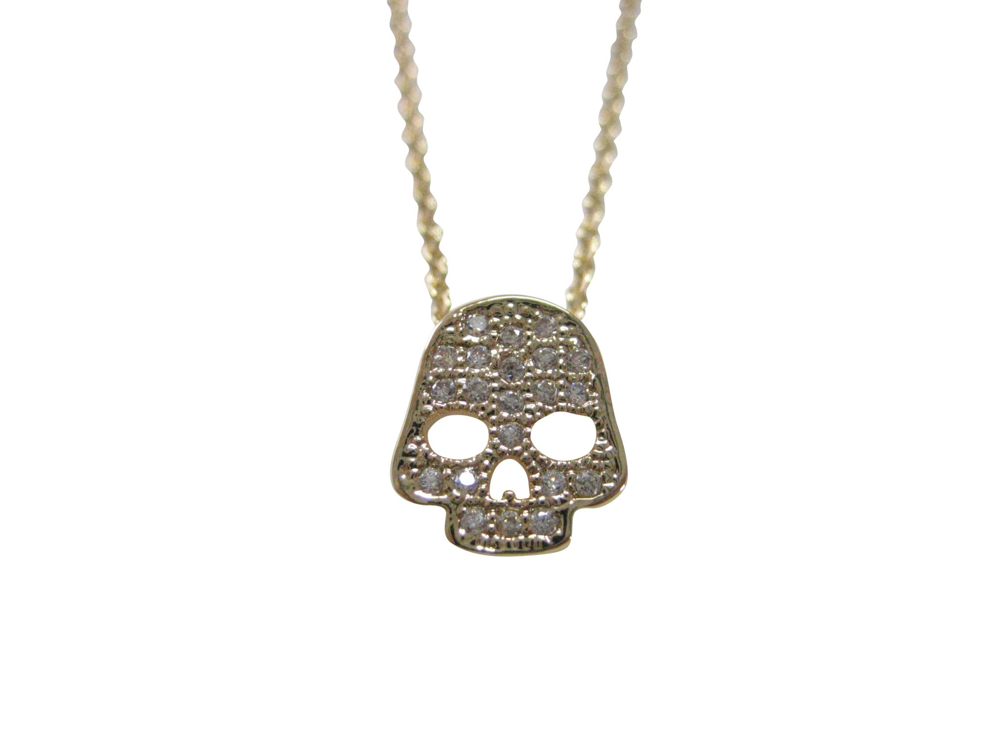Gold Toned Crystalled Skull Pendant Necklace