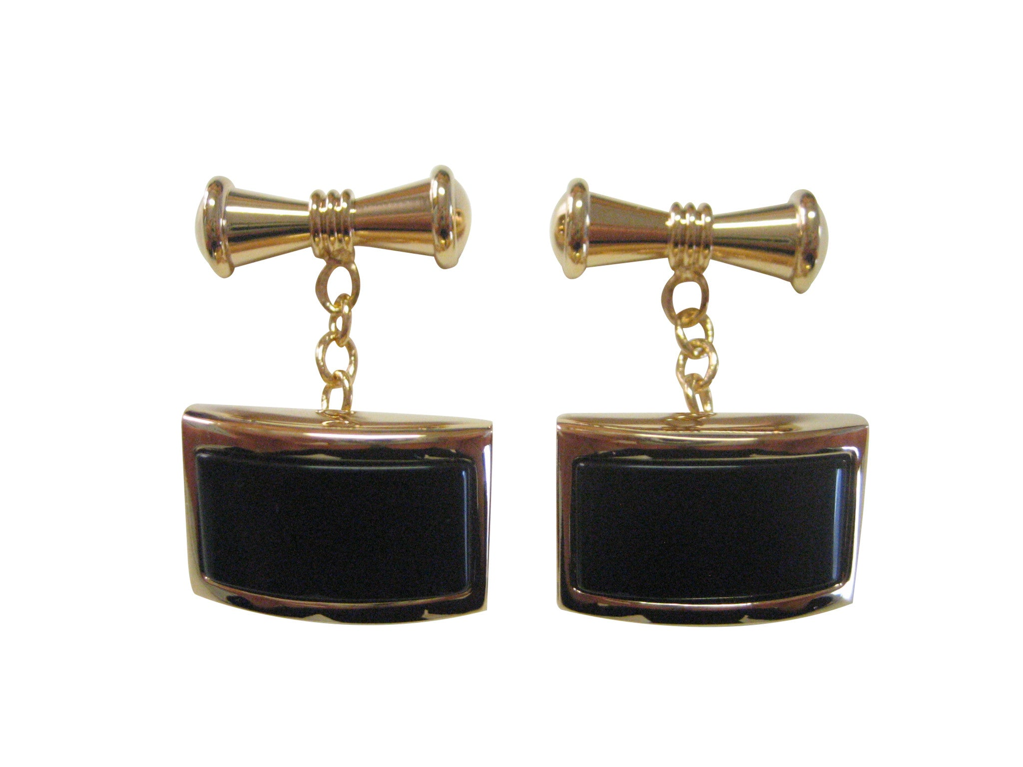 Curved Gold and Black Stylish Cufflinks