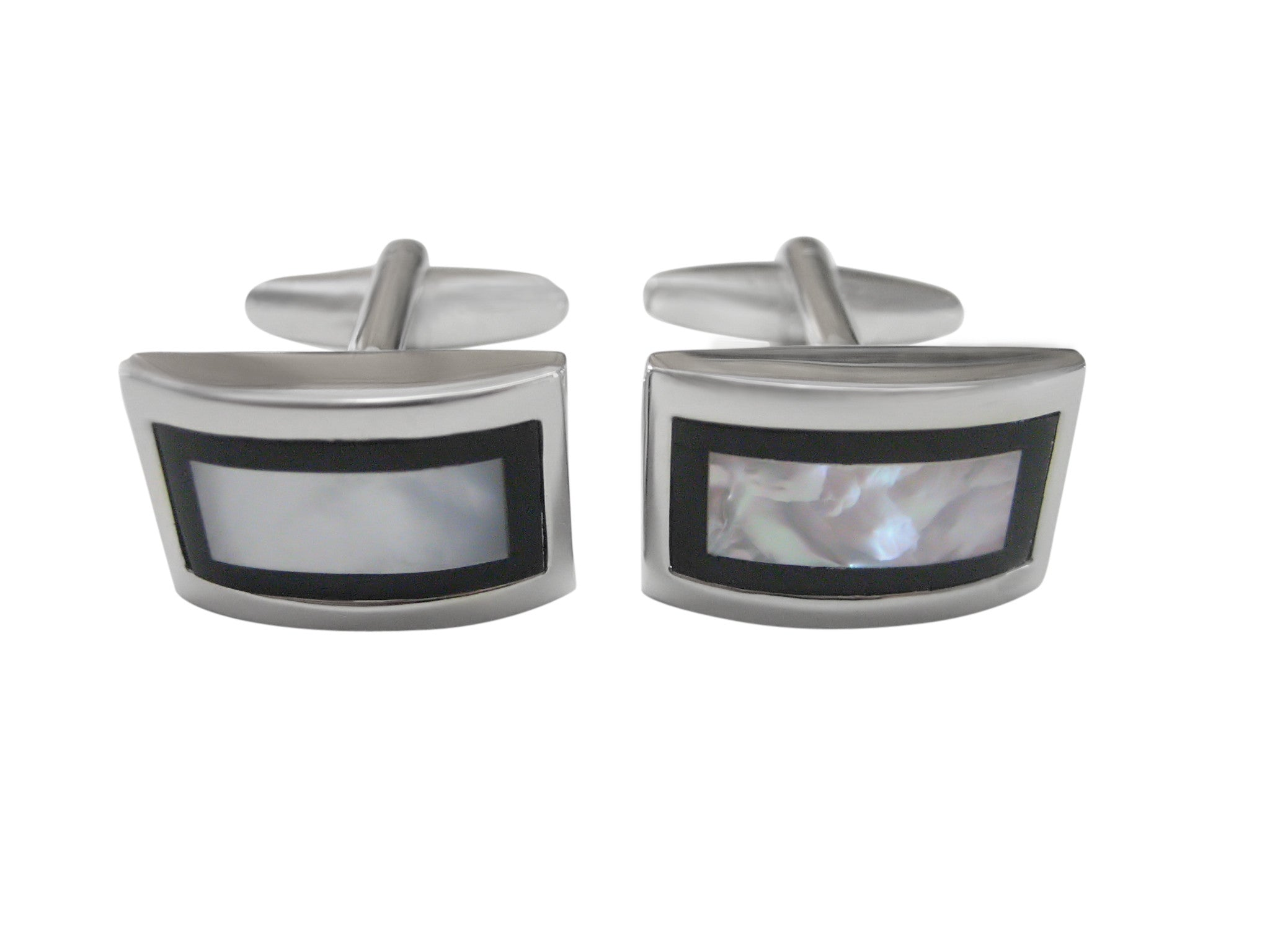 Curved Shell Design Cufflinks with Black Border