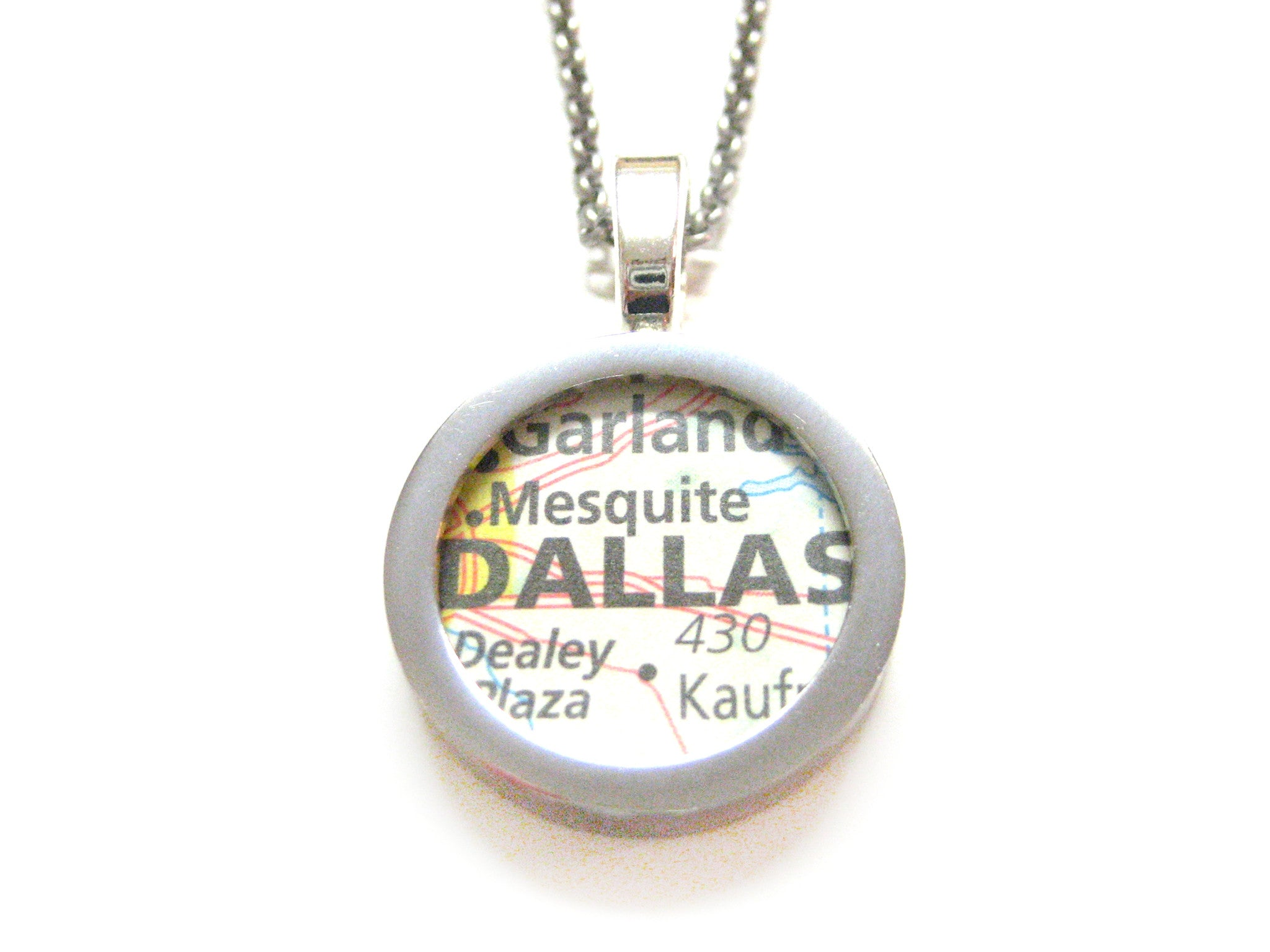 Dallas Texas Map Pendant Necklace
