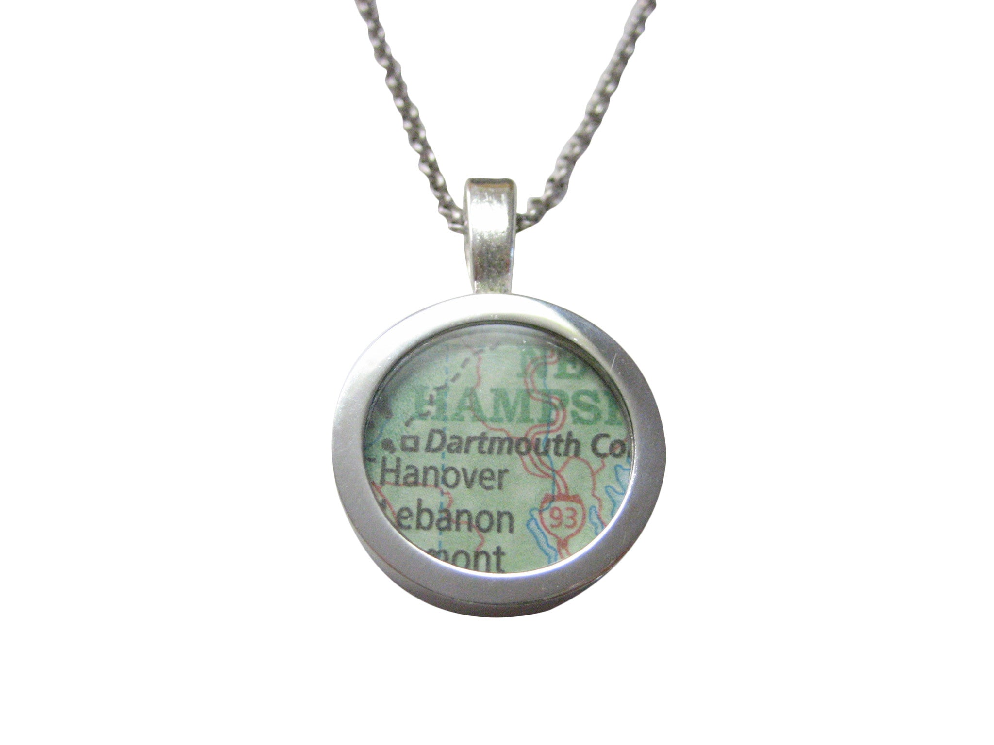 Dartmouth College University Map Pendant Necklace