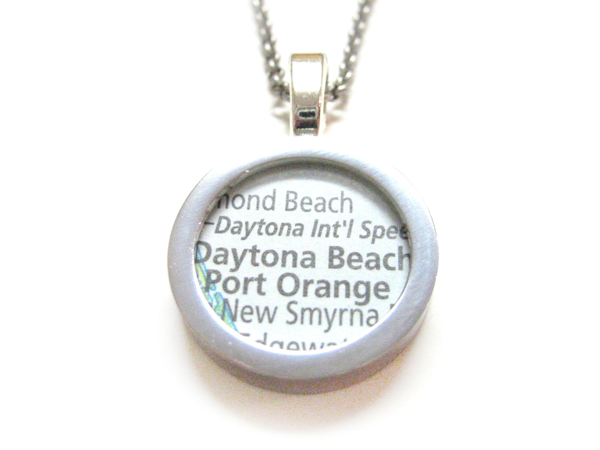 Daytona Beach Florida Map Pendant Necklace