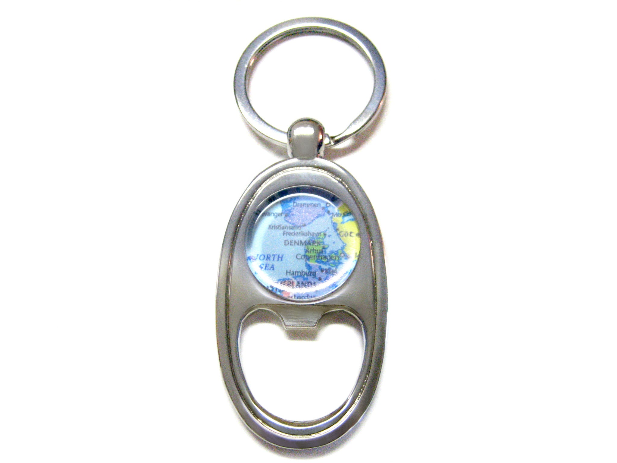 Denmark Map Bottle Opener Key Chain