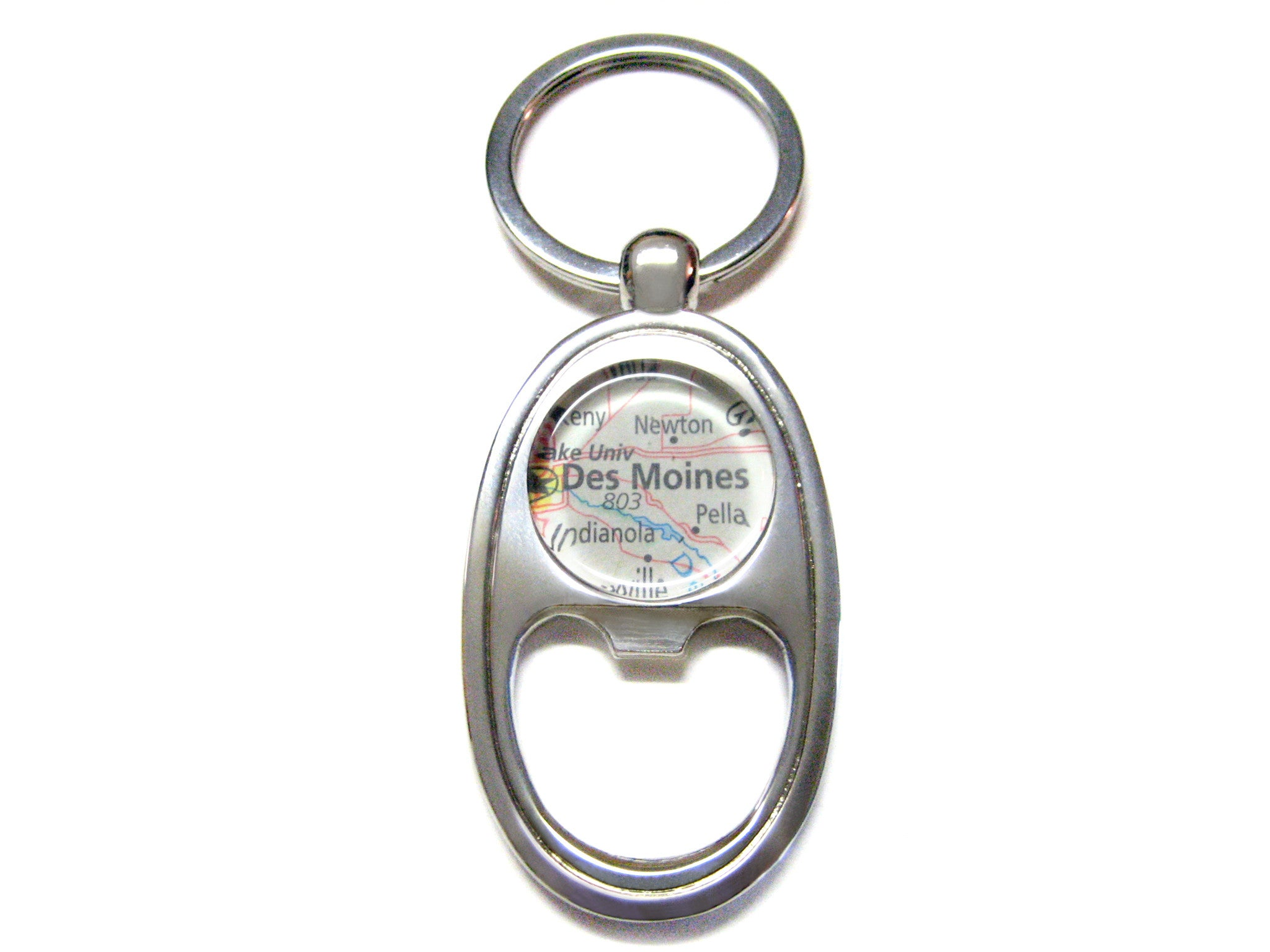 Des Moines Iowa Map Bottle Opener Key Chain