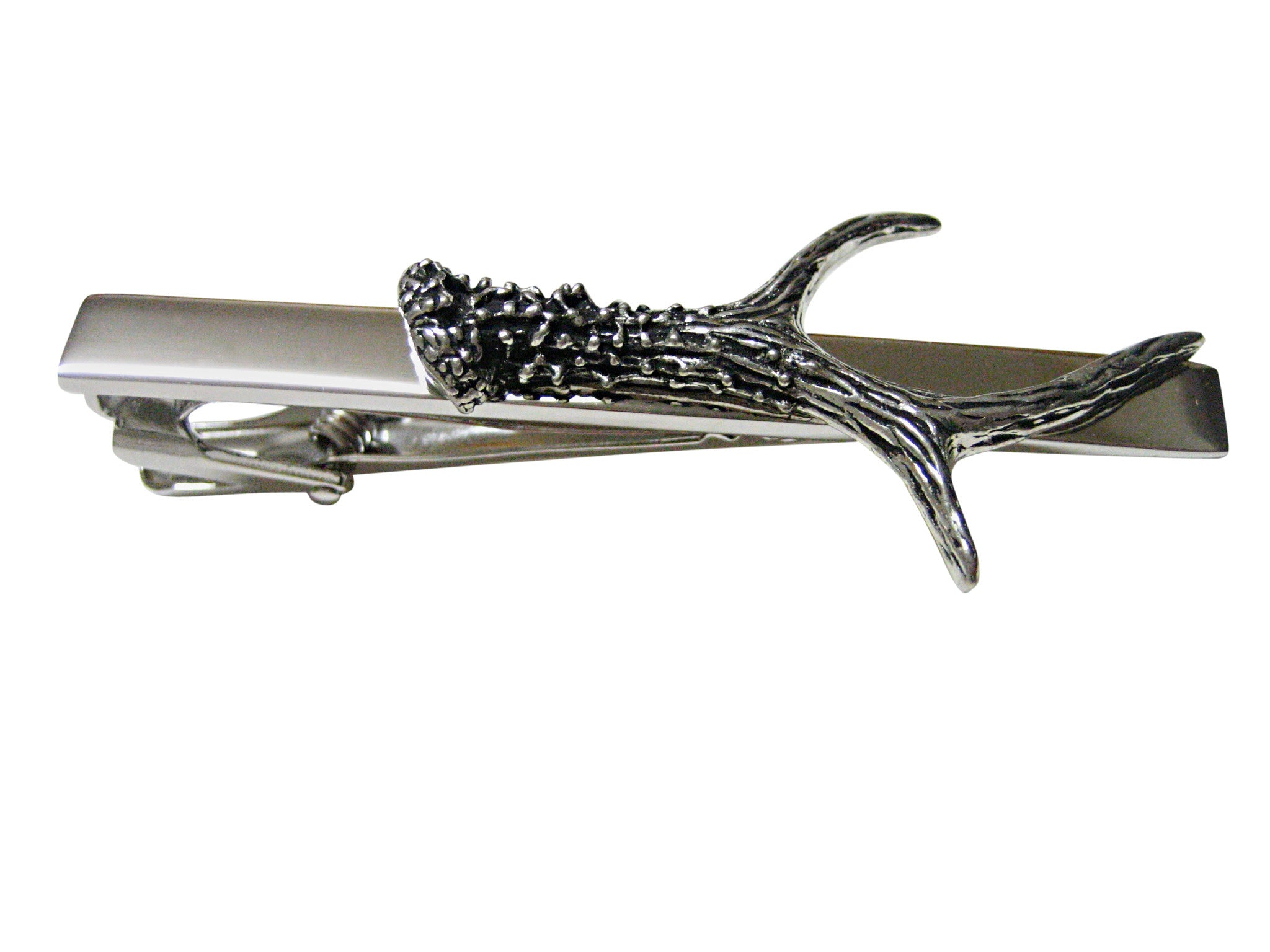 Detailed Single Deer Antler Square Tie Clip