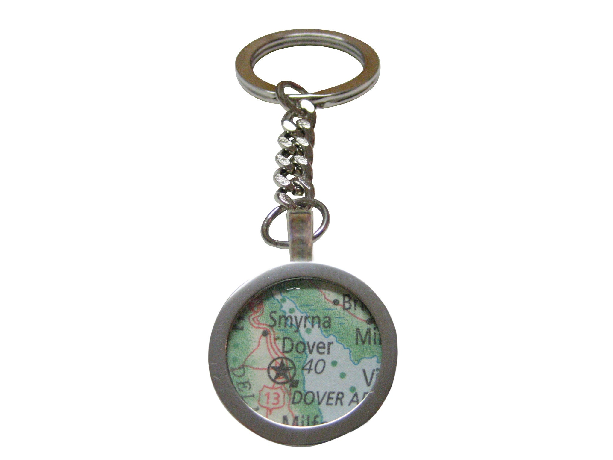 Dover Delaware Map Pendant Key Chain