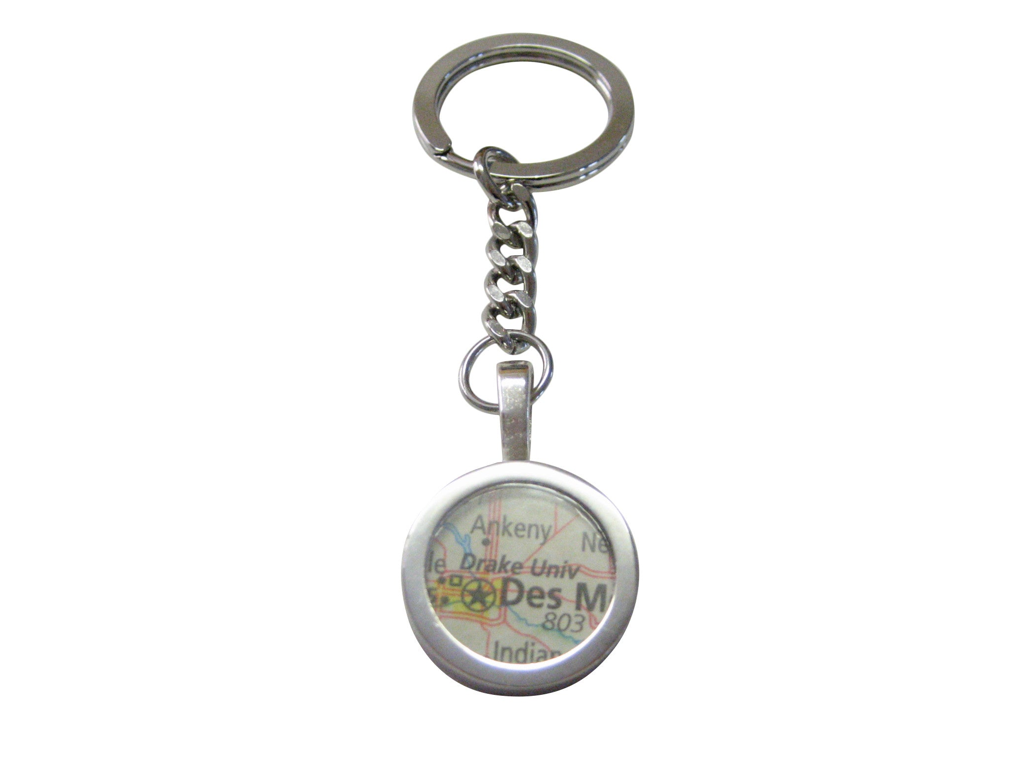 Drake University Map Pendant Keychain
