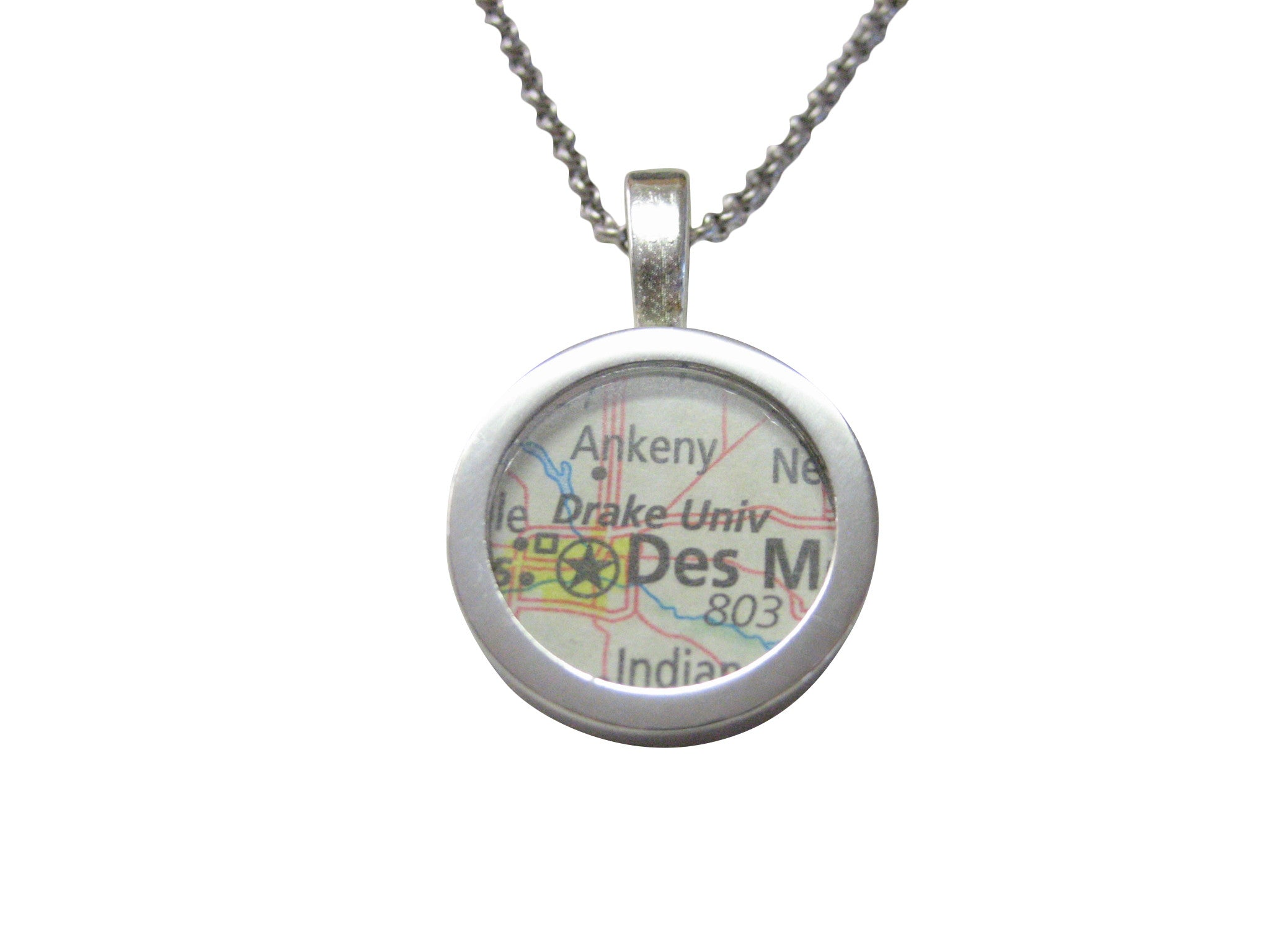 Drake University Map Pendant Necklace