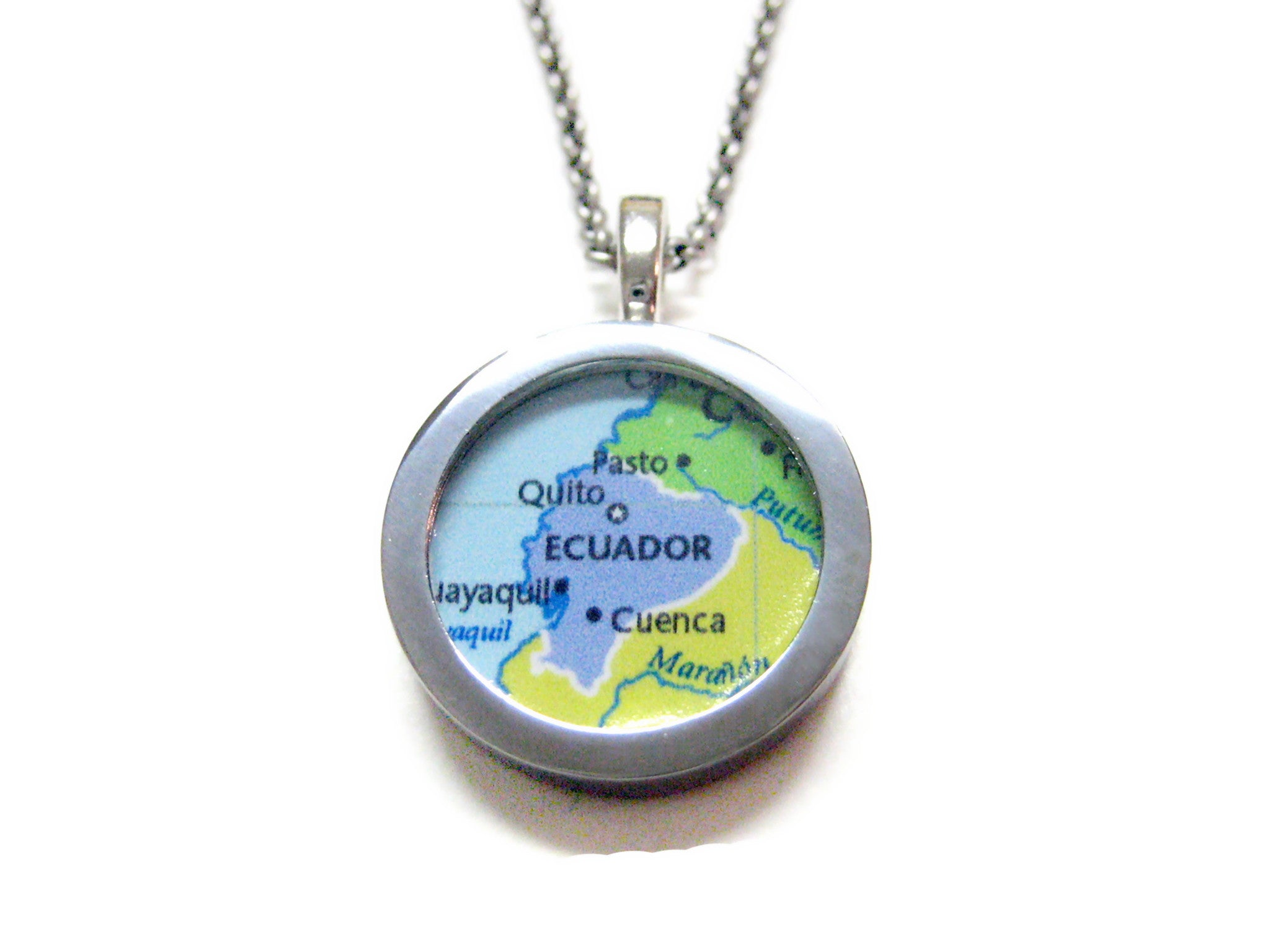 Ecuador Map Pendant Necklace
