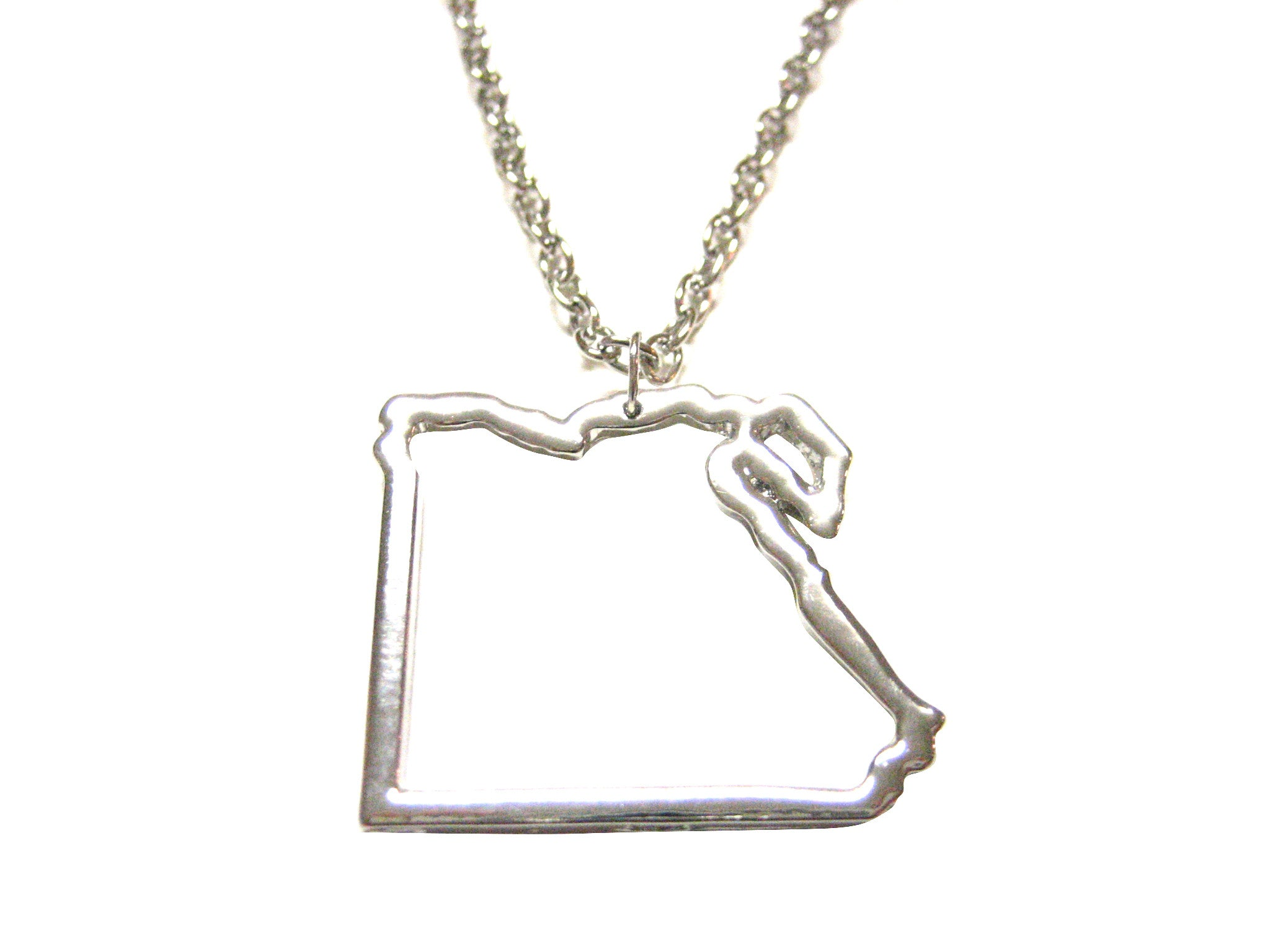 Silver Toned Egypt Map Outline Pendant Necklace
