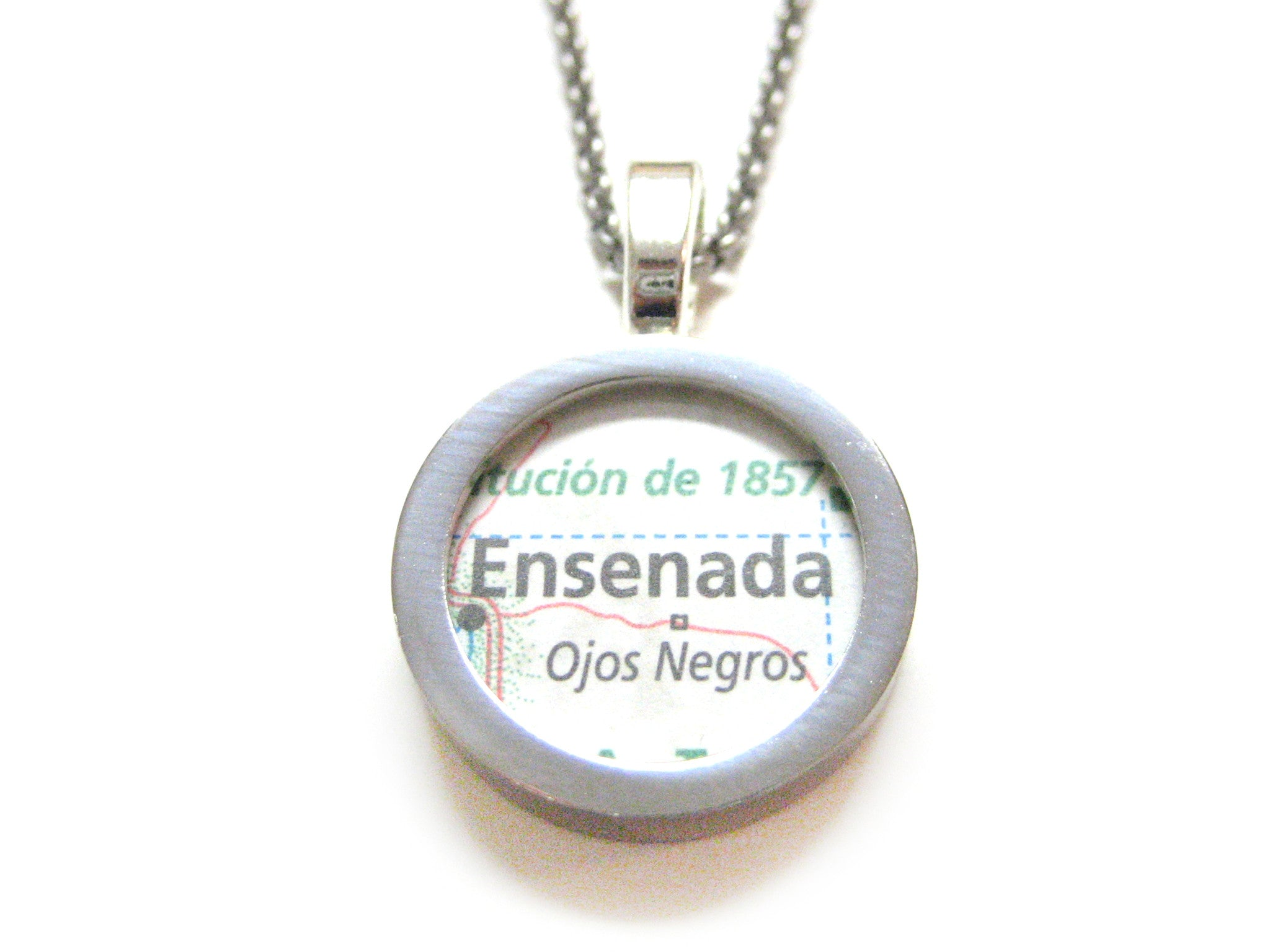 Ensenada Mexico Map Pendant Necklace