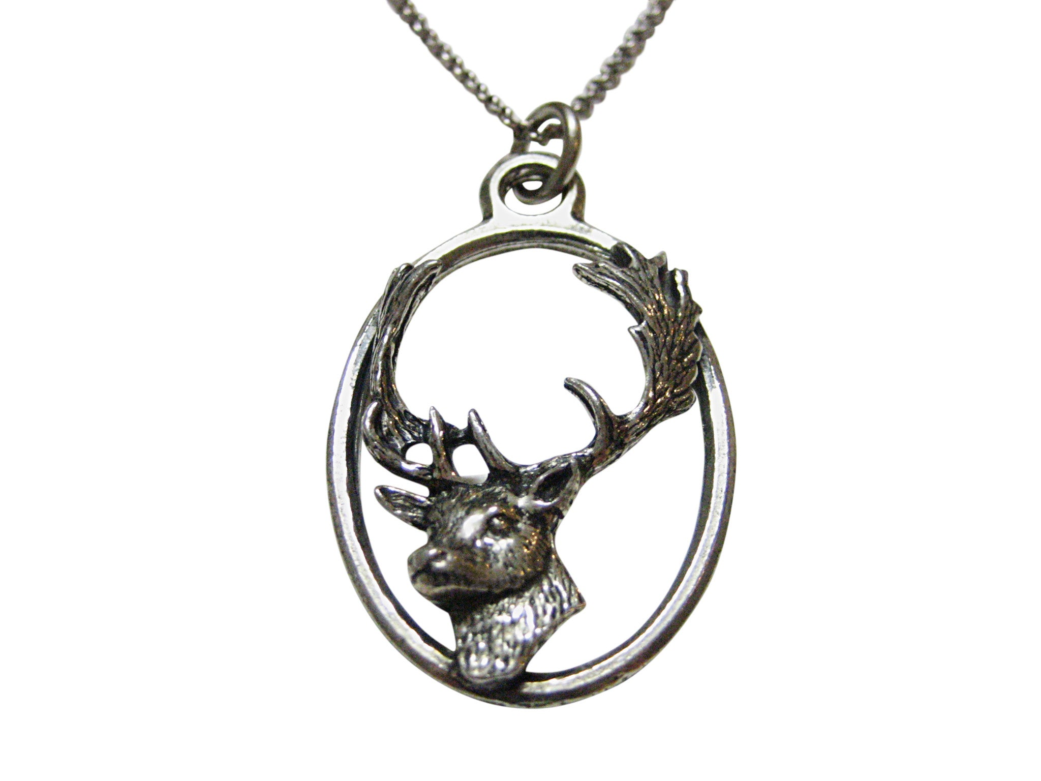 Fallow Deer Head Large Oval Pendant Necklace