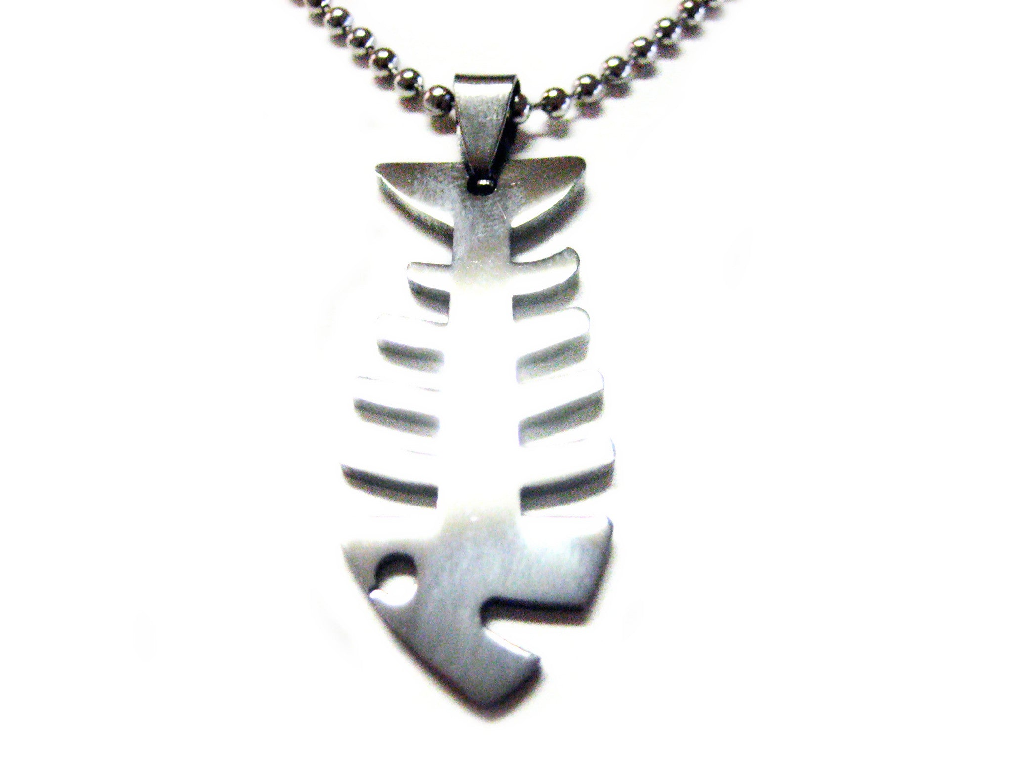 Fish Bone Metal Cut Out Necklace