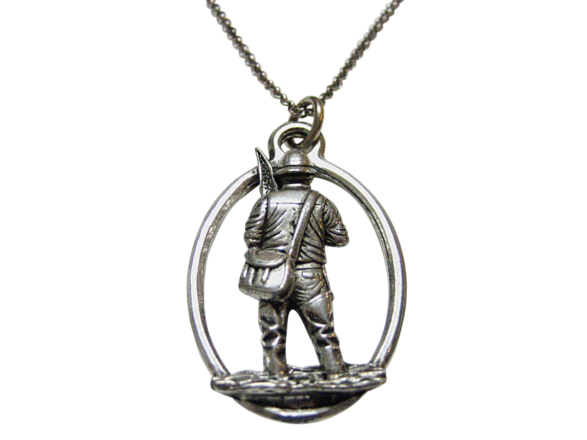 Fisherman Large Oval Pendant Necklace
