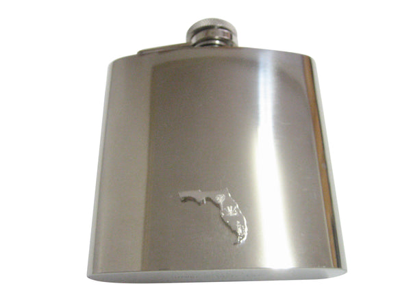 Florida State Map Shape and Flag Design Pendant 6oz Flask