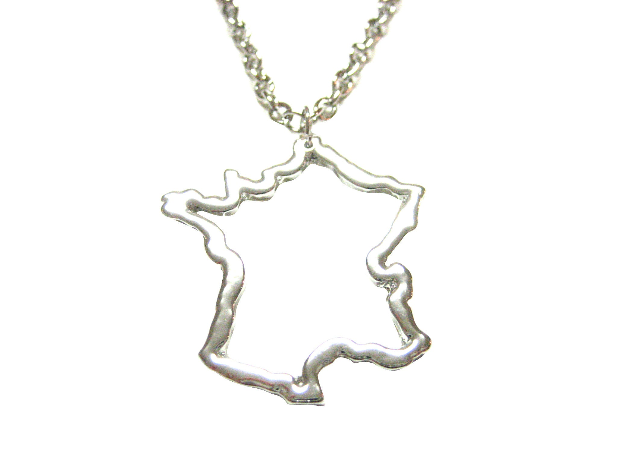 Silver Toned France Map Outline Pendant Necklace