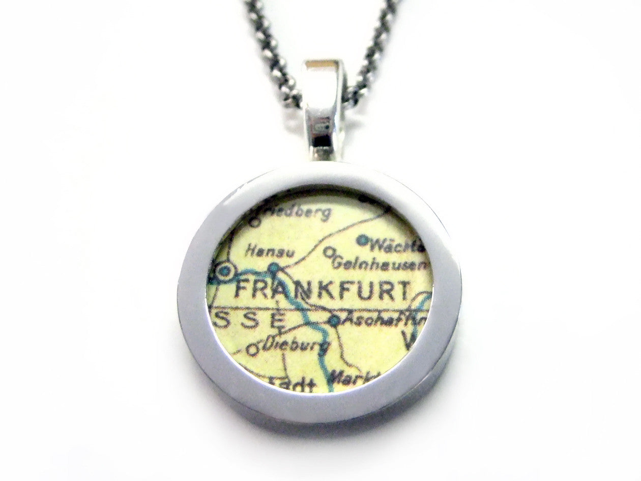 Frankfurt Map Pendant Necklace