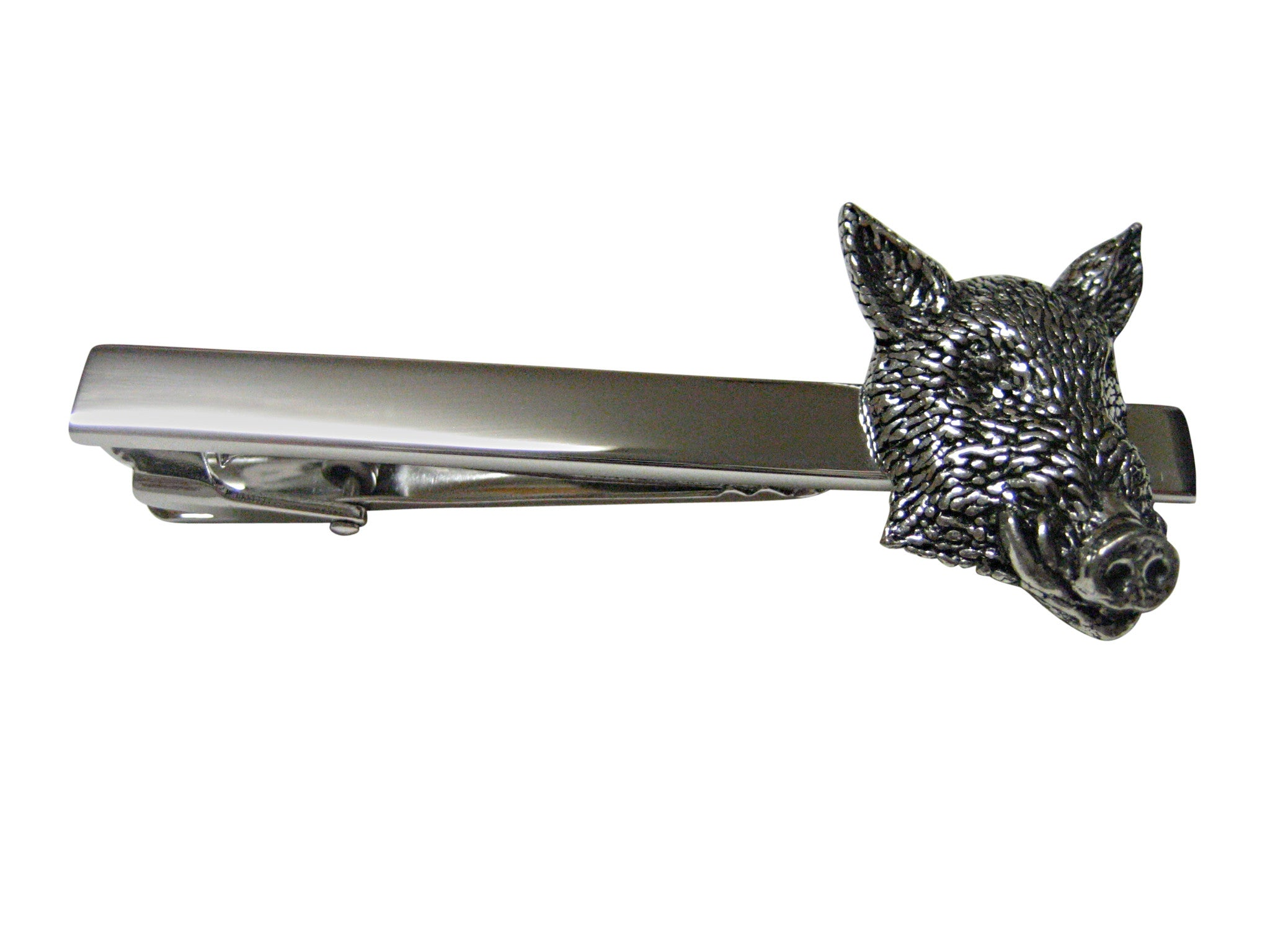 Front Looking Wild Boar Hog Head Square Tie Clip