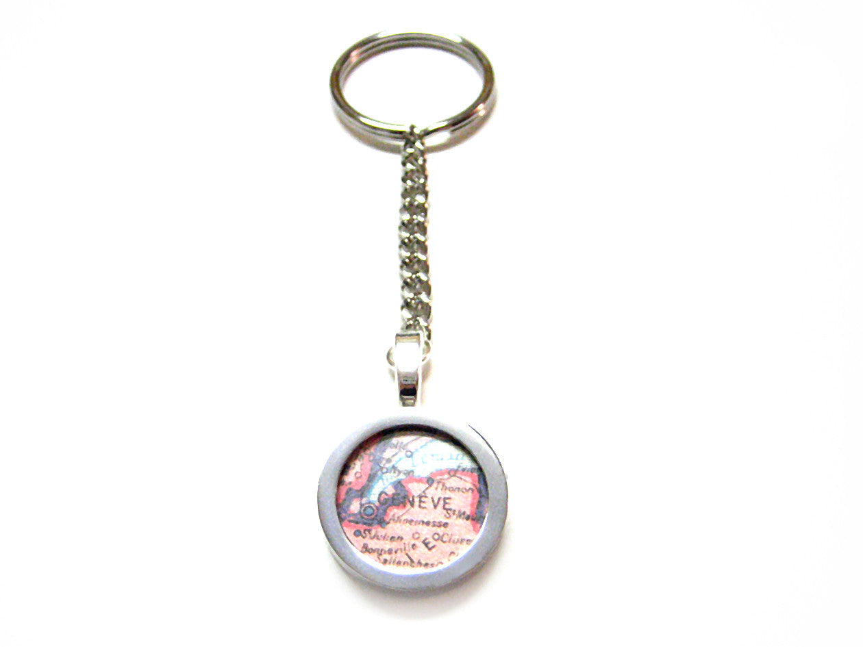 Geneva Map Key Chain