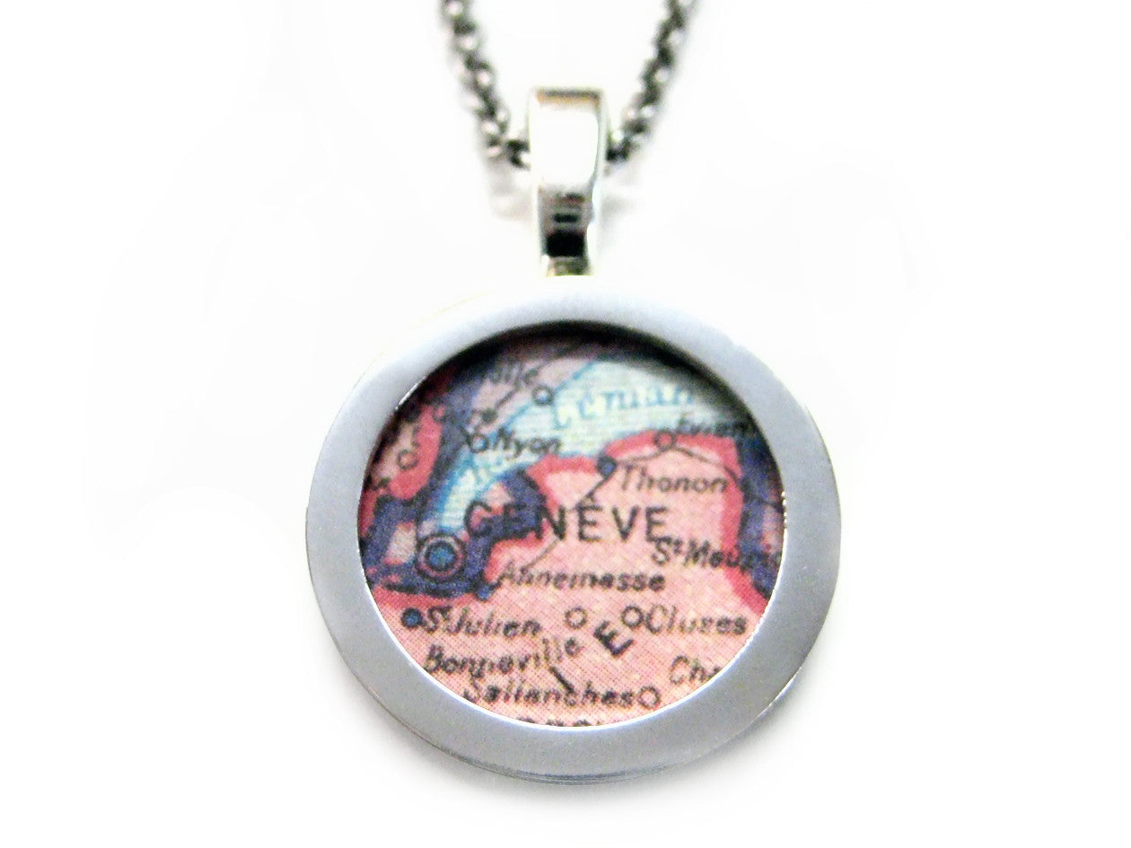 Geneva Map Pendant Necklace