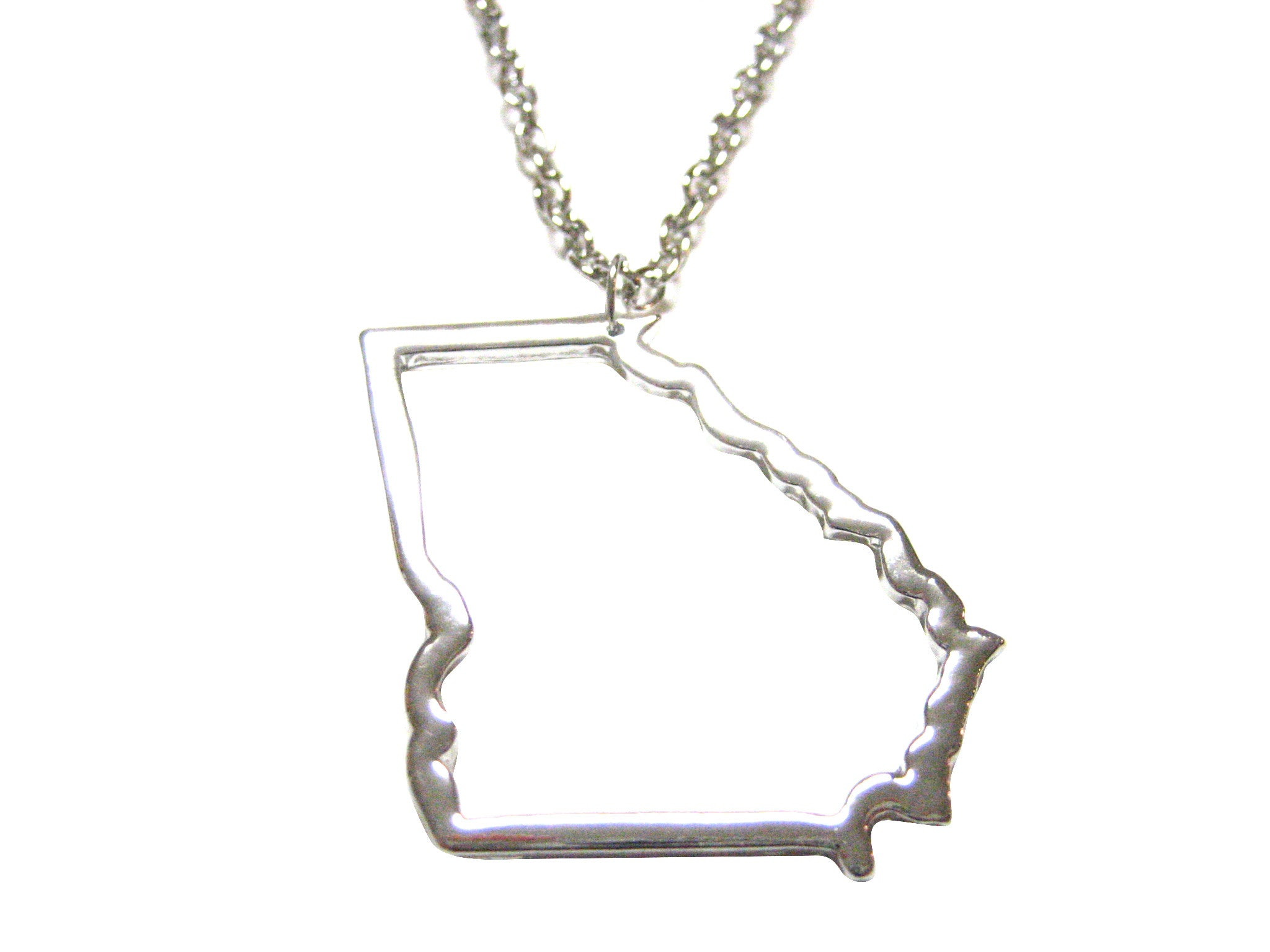 Silver Toned Georgia State Map Outline Pendant Necklace Kiola Designs