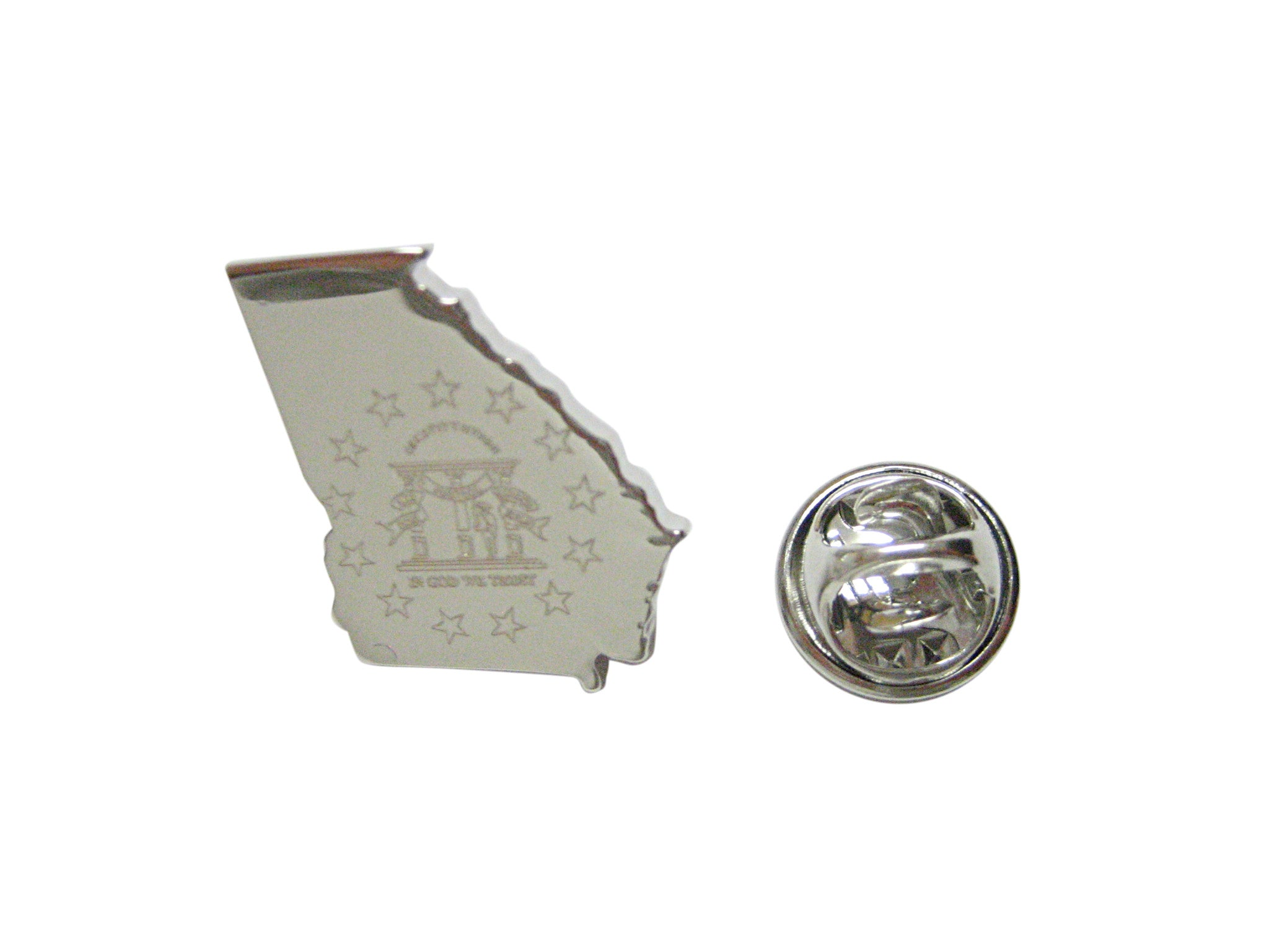 Georgia State Map Shape and Flag Design Lapel Pin