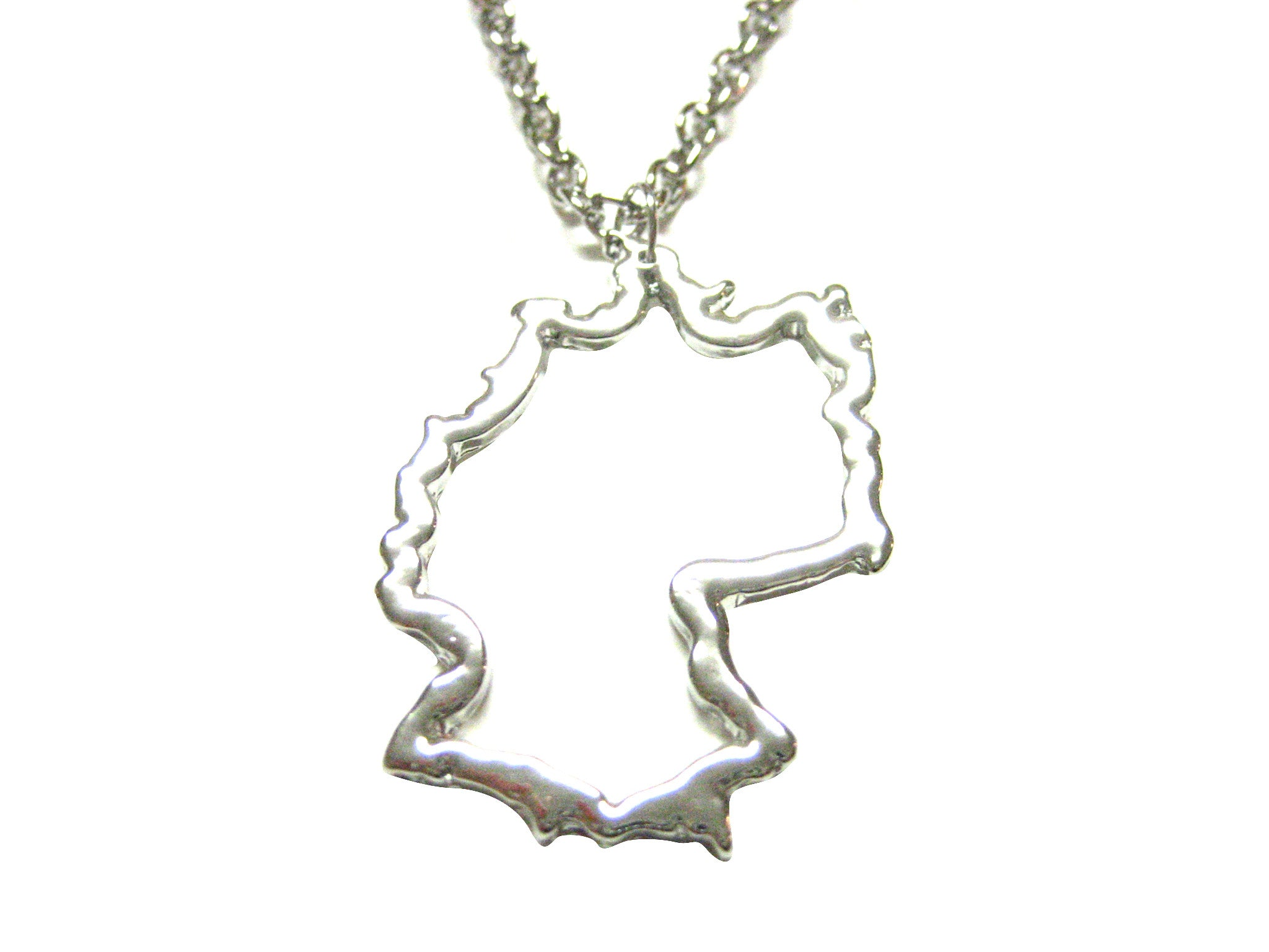 Silver Toned Germany Map Outline Pendant Necklace