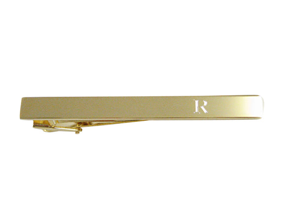 Gold Toned Etched Letter R Monogram Square Tie Clip